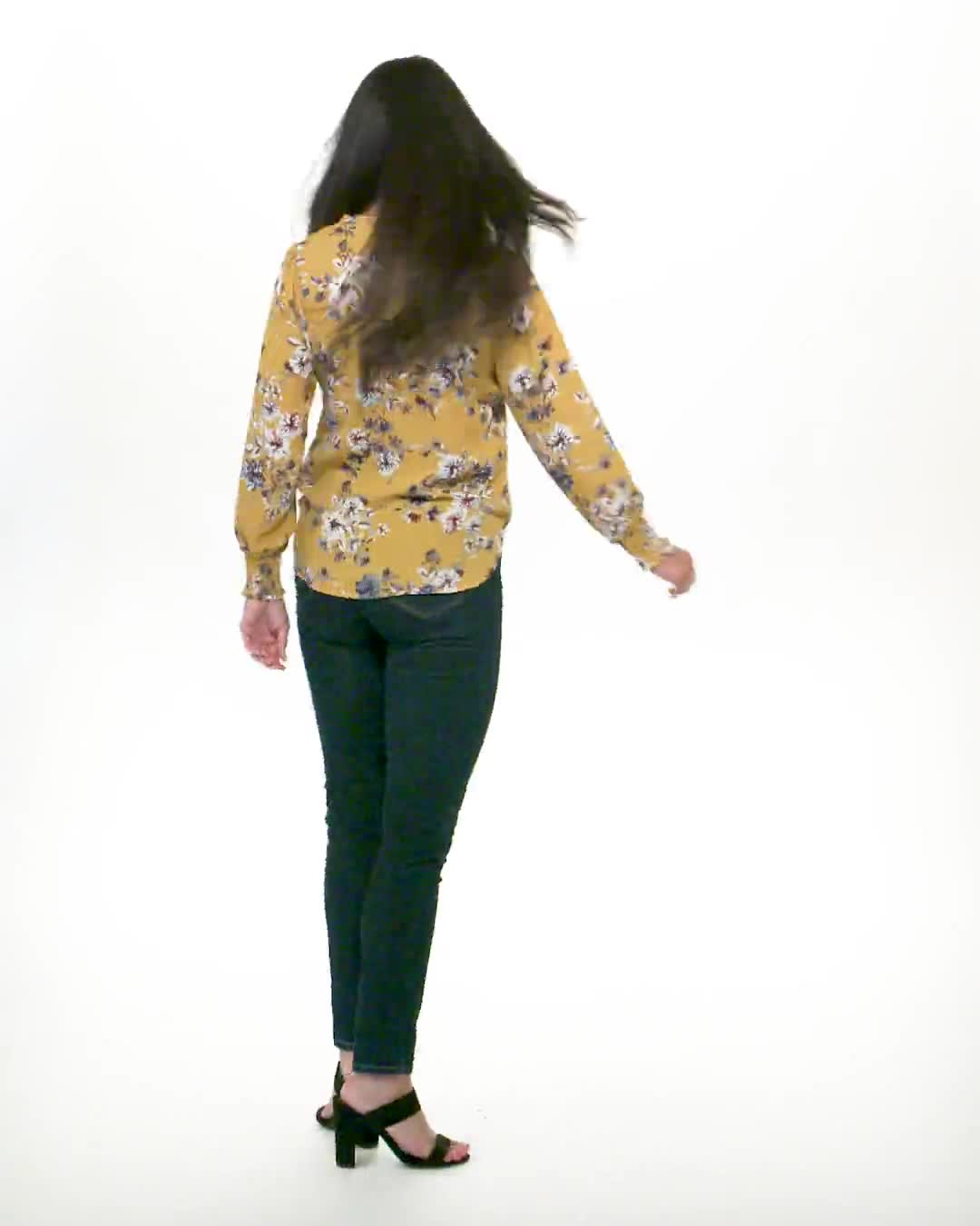 Ruffle V-neck Floral Blouse - Video