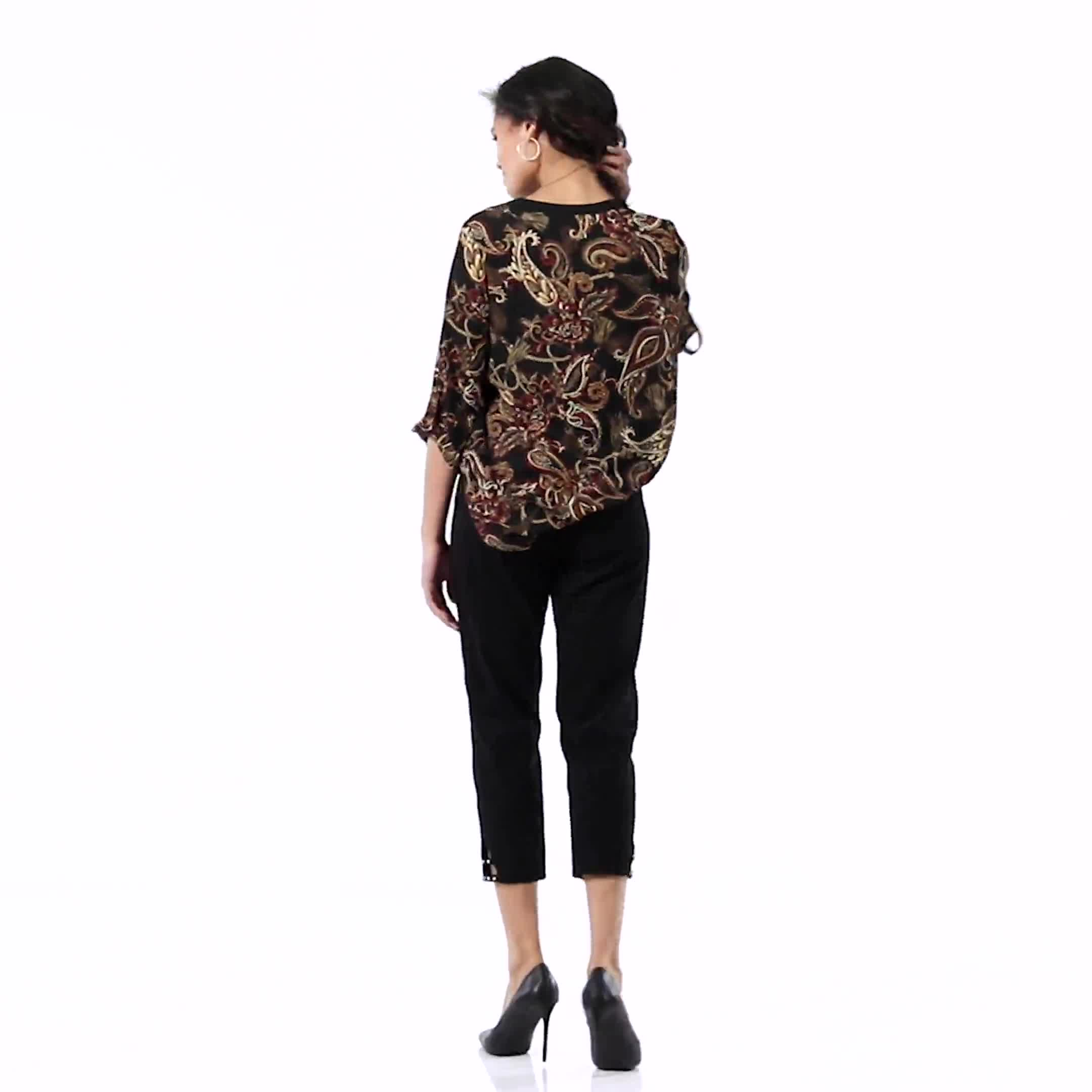 Paisley Solid Trim Woven Popover - Video