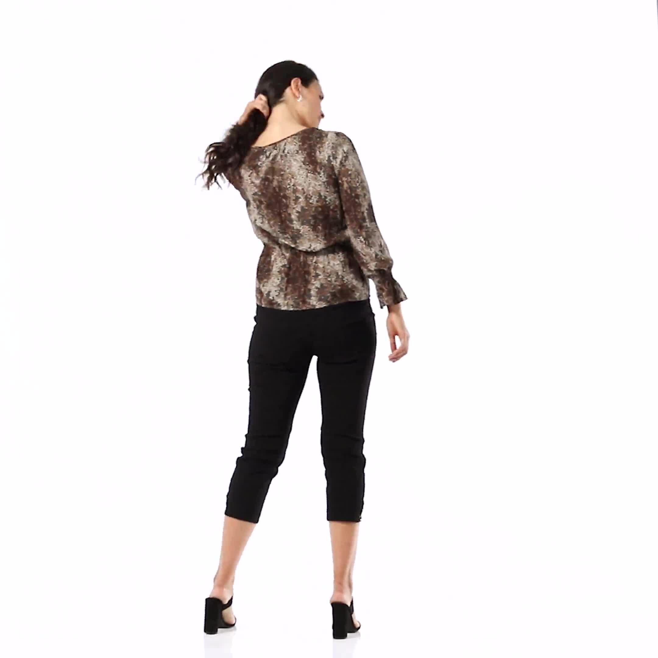 Long Sleeve Animal Peplum Blouse - Video