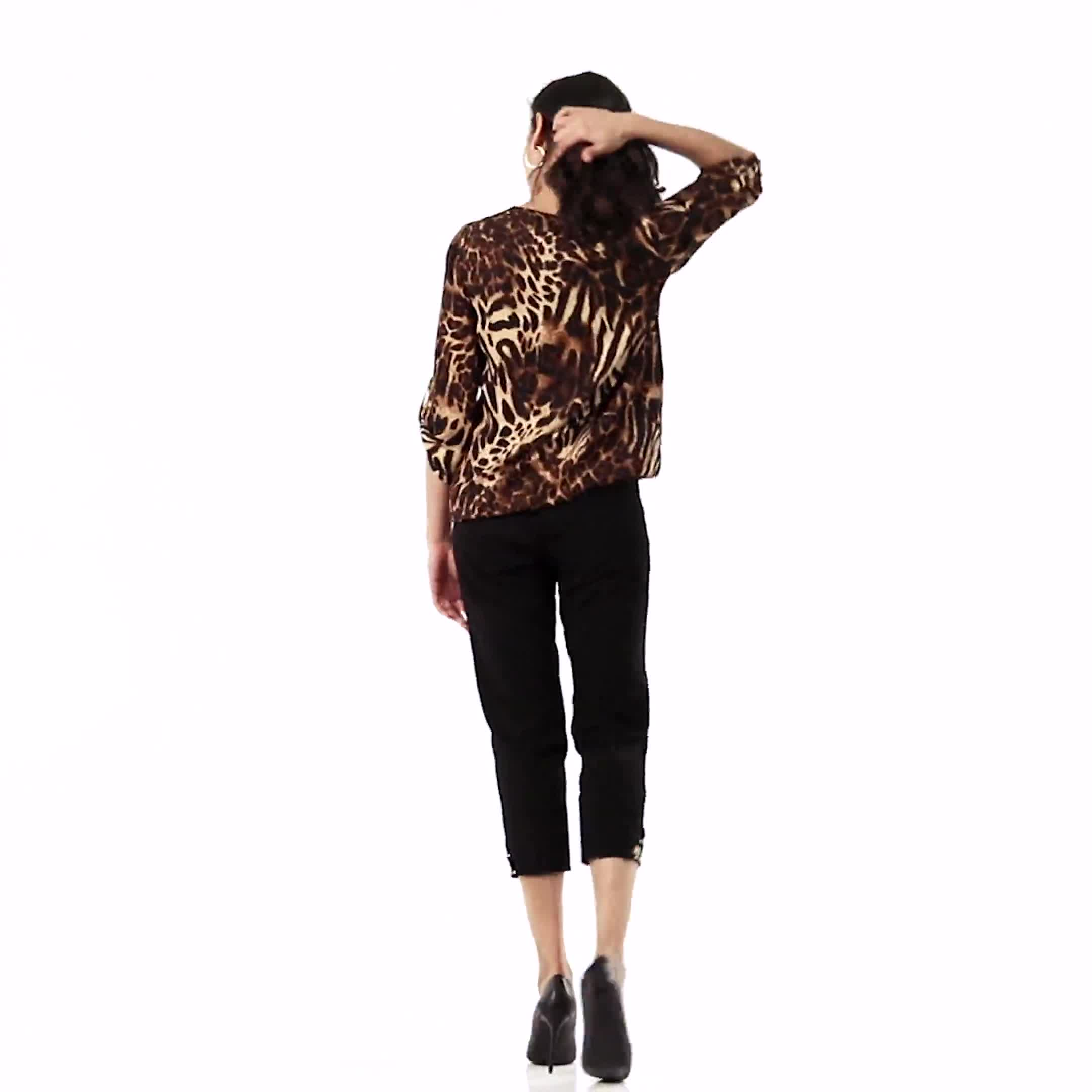 Zip Neck Animal Bubble Hem Blouse - Video