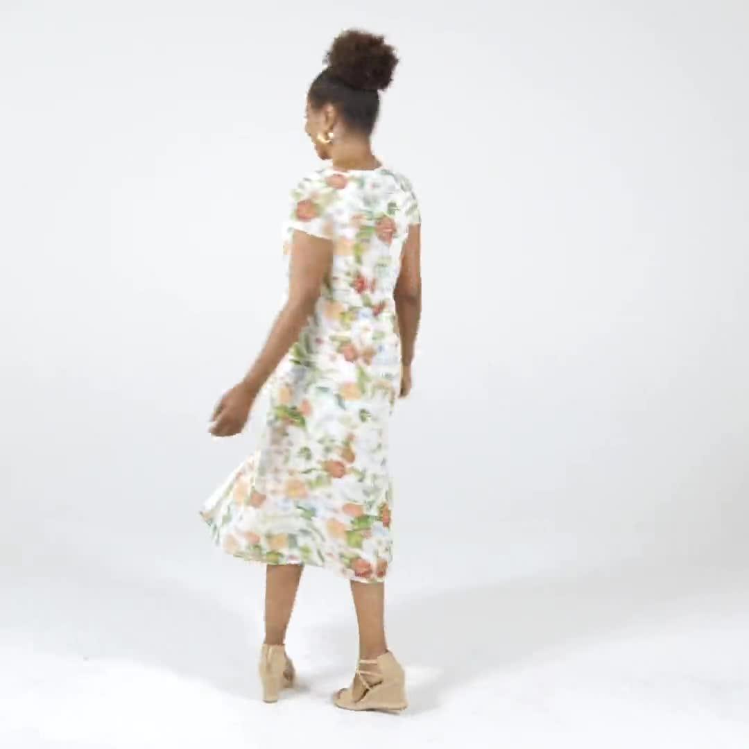 Surplice Floral Midi Dress - Misses - Video