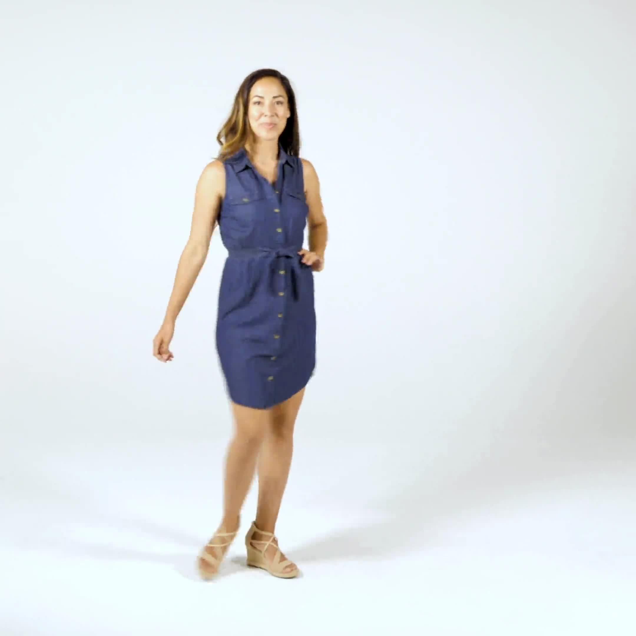 Button Front Sleeveless Denim Dress - Video
