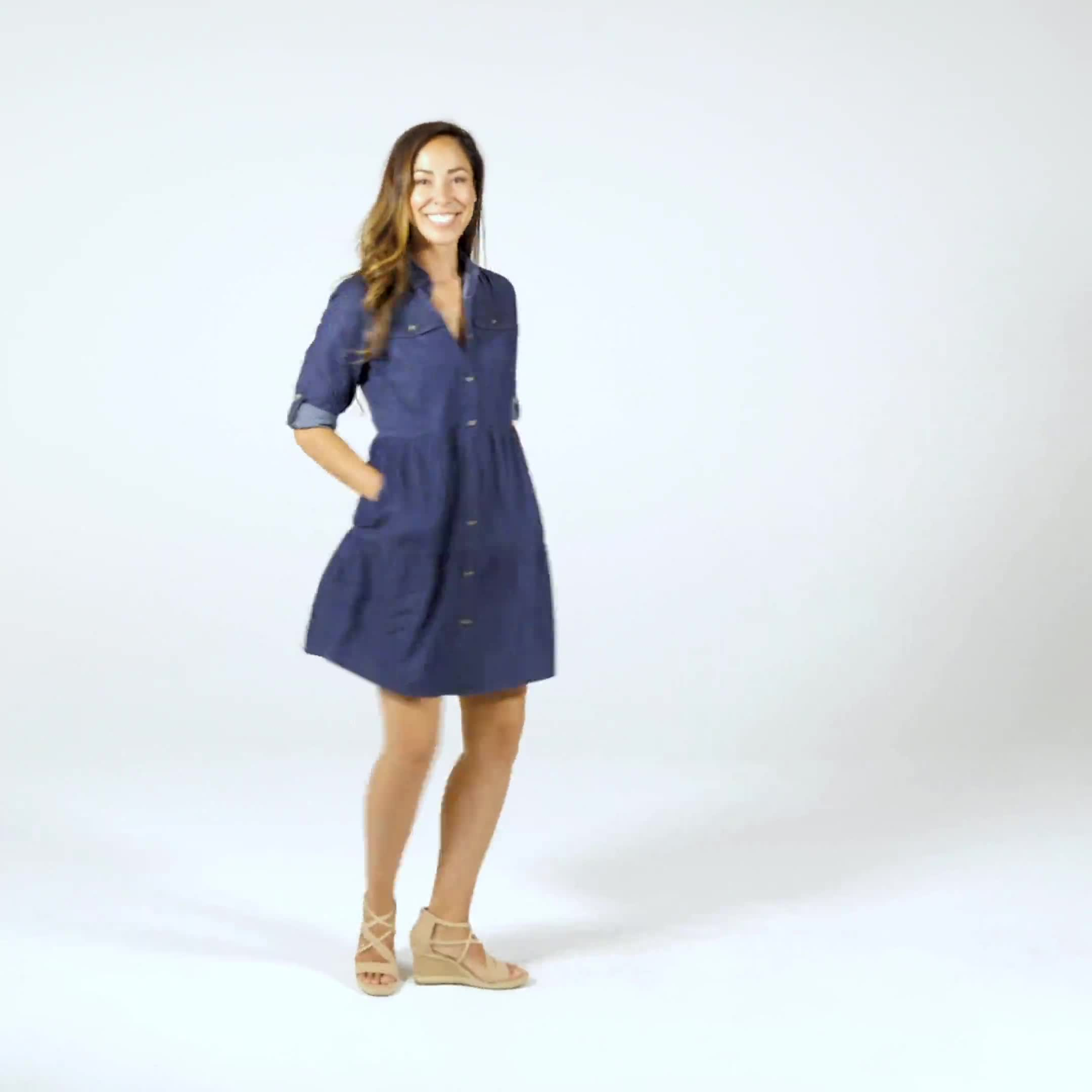 3/4 Sleeve Denim Shirt Dress - Video