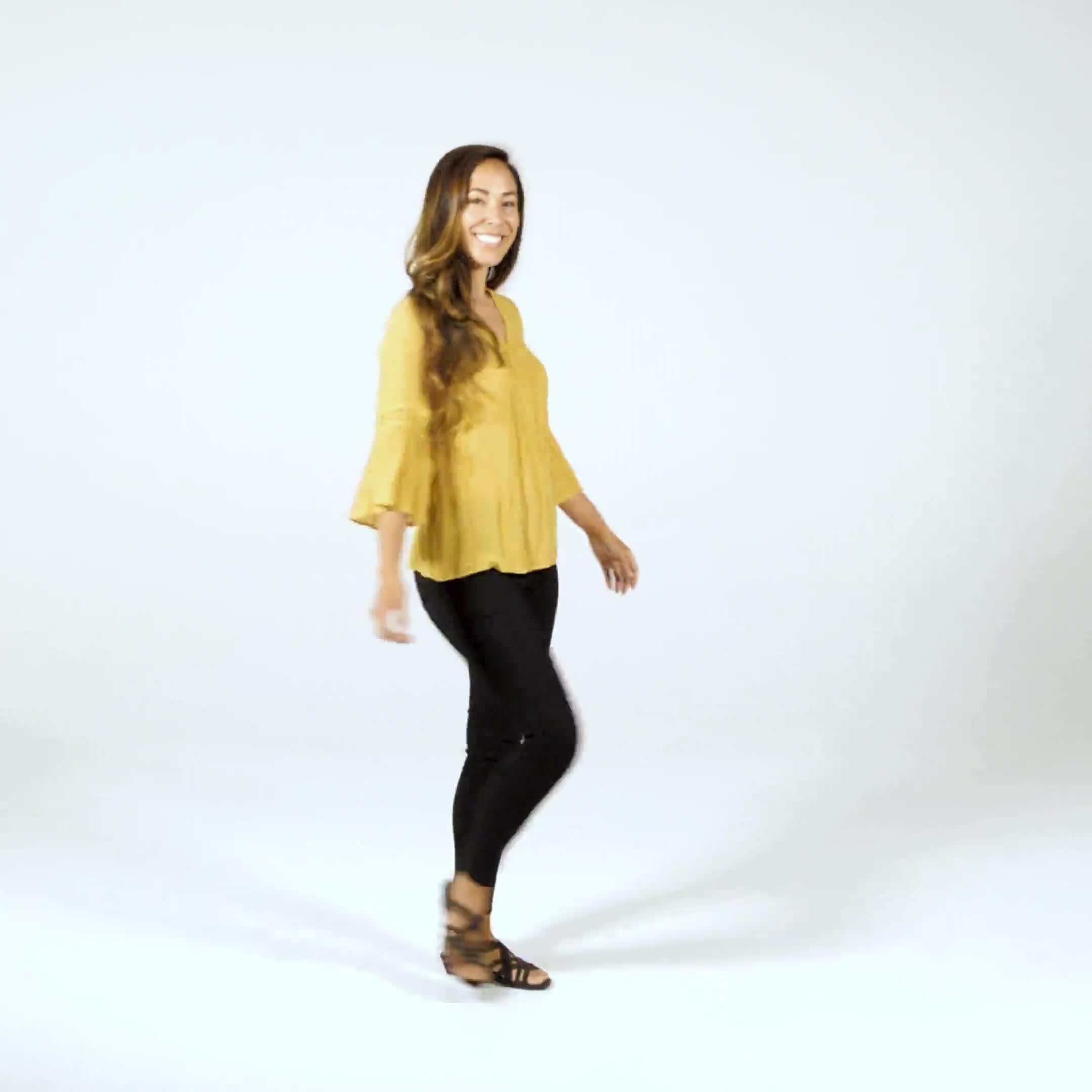 Textured Crochet V Neck Woven Top - Video