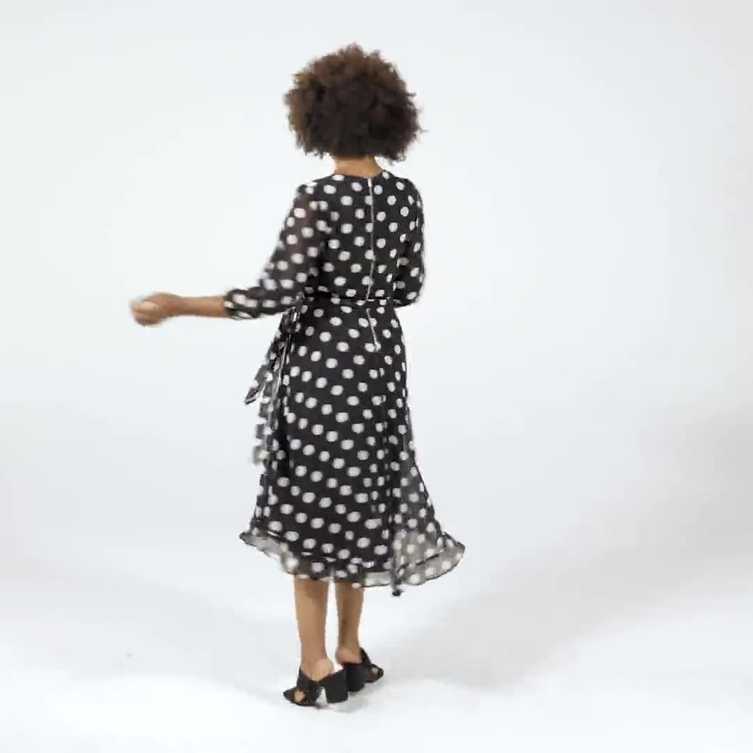 Chiffon Dot Faux Wrap Dress - Video