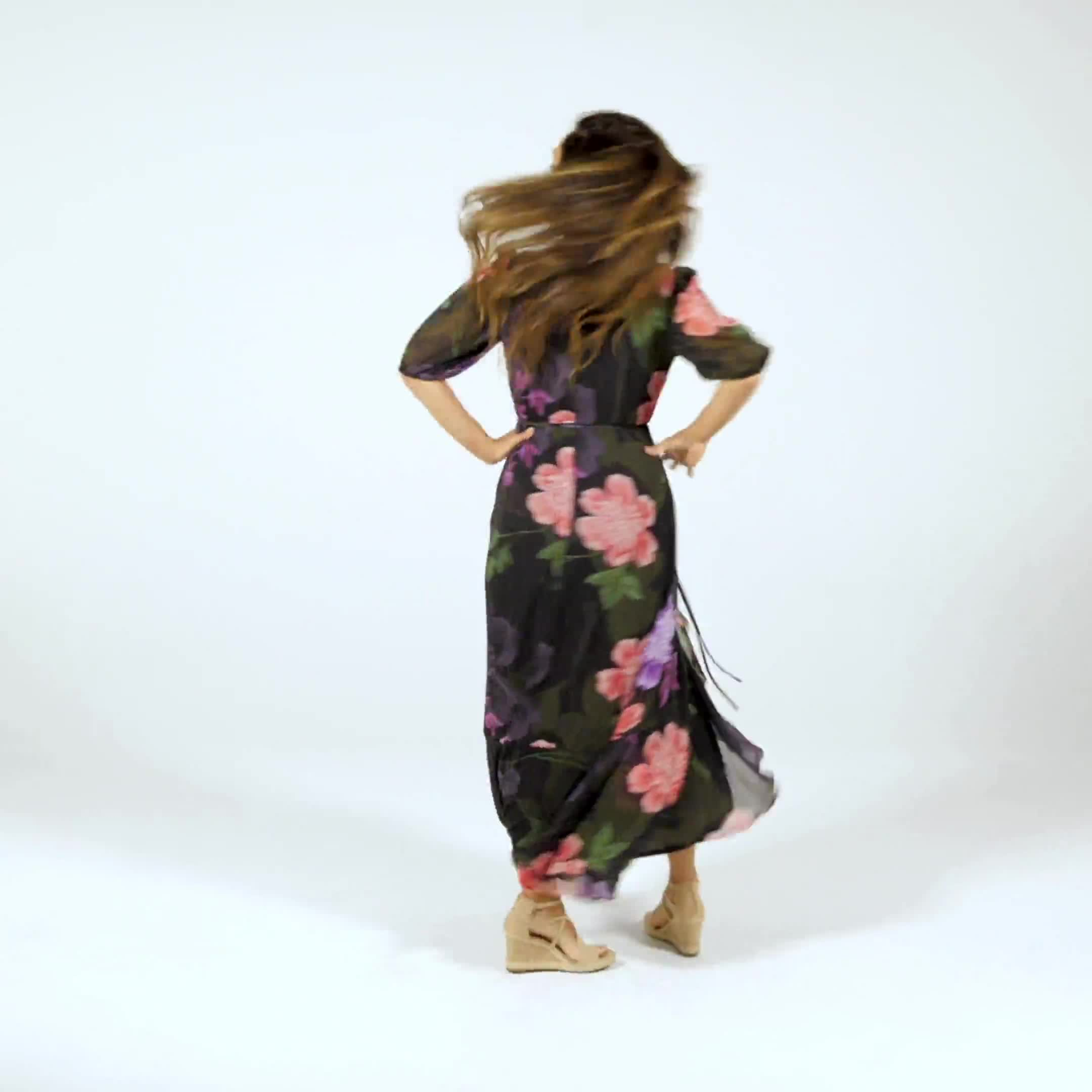 Large Floral Ruffle Dress - Misses - Video