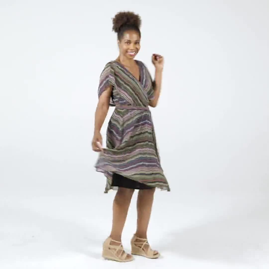 Wavy Stripe Chiffon Dress - Video