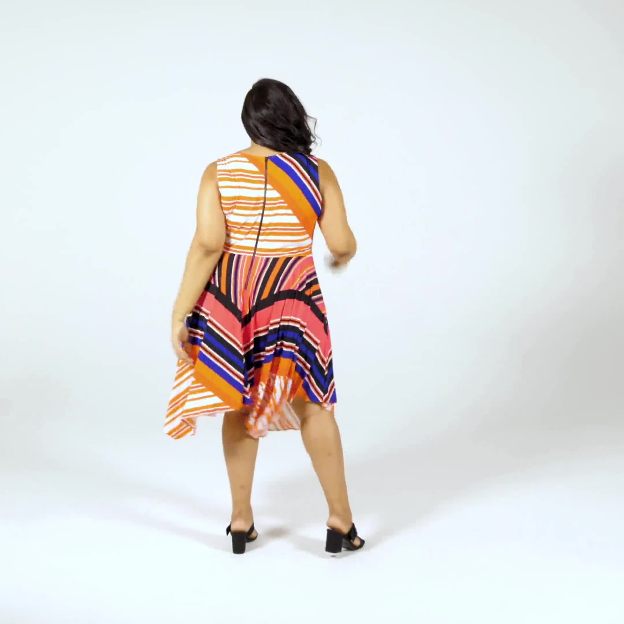 Orange Zest Striped Dress - Plus - Video