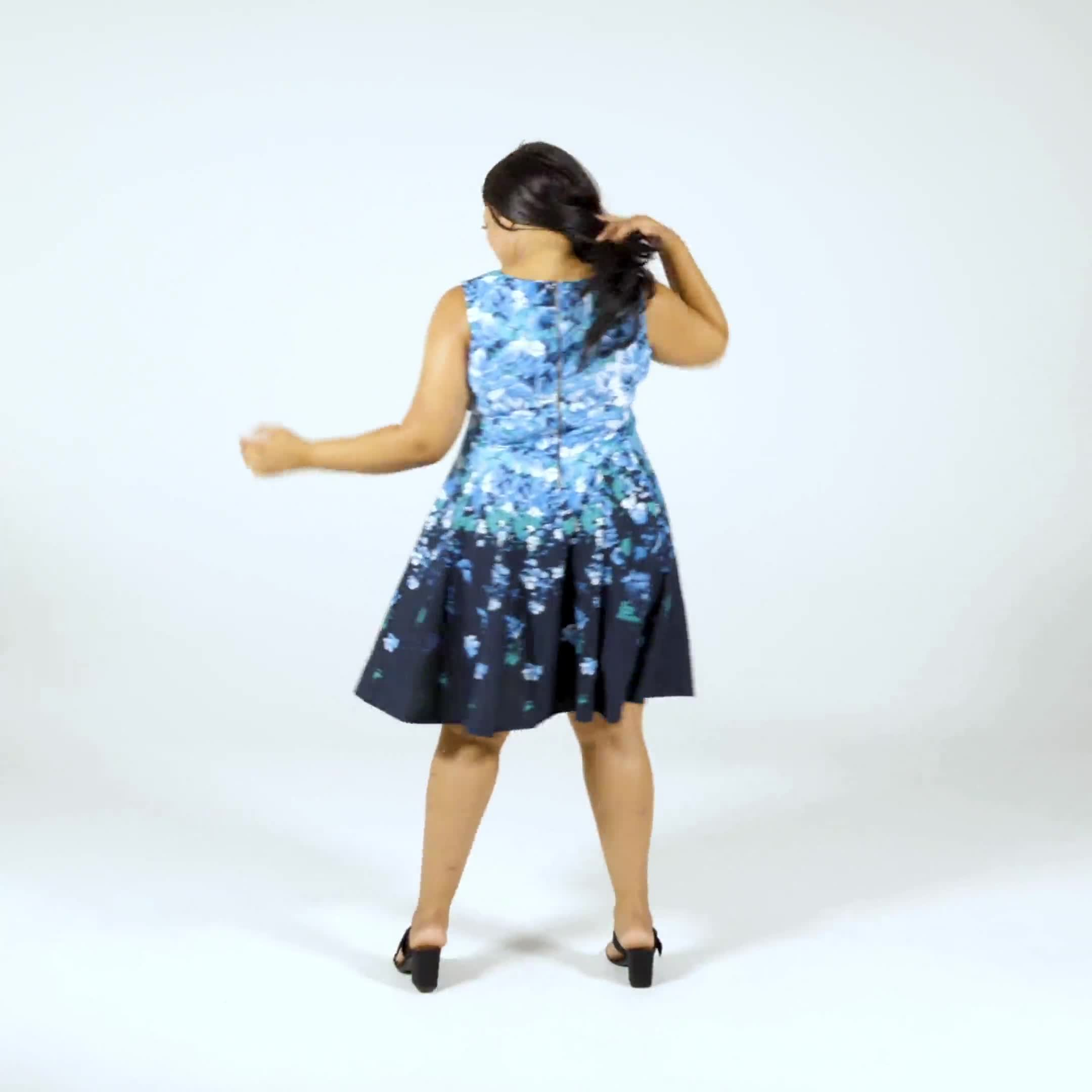 Falling Floral Fit and Flare Dress - Plus - Video