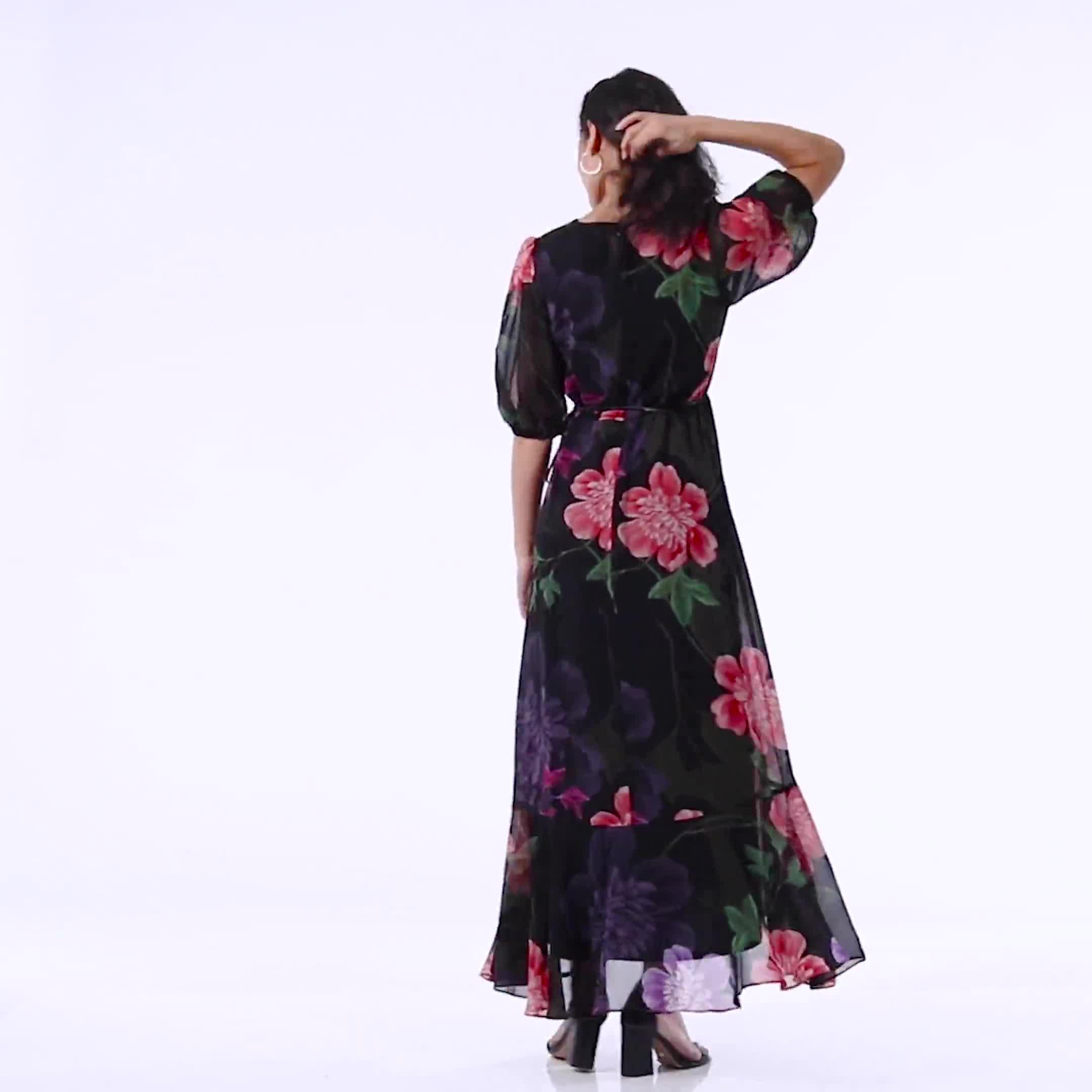 Large Floral Ruffle Dress - Plus - Video