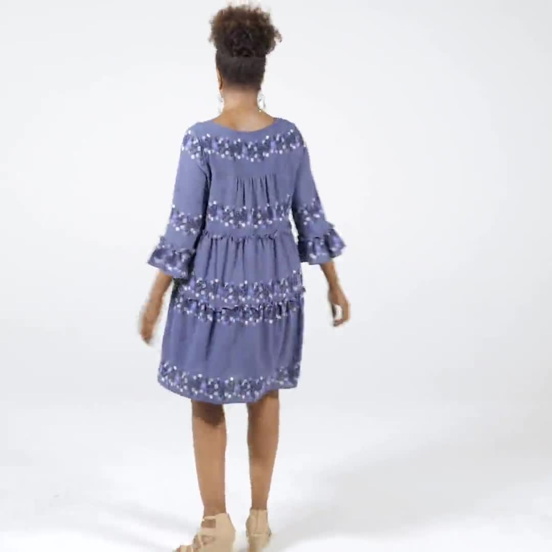 3/4 Sleeve Tiered Floral Babydoll Dress - Video
