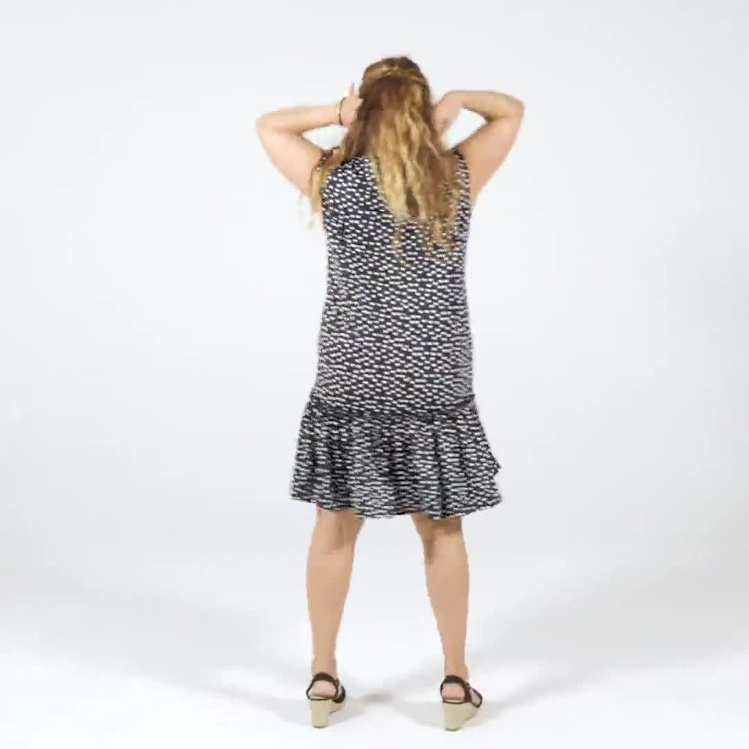 Dot Flounce Hem Dress - Video