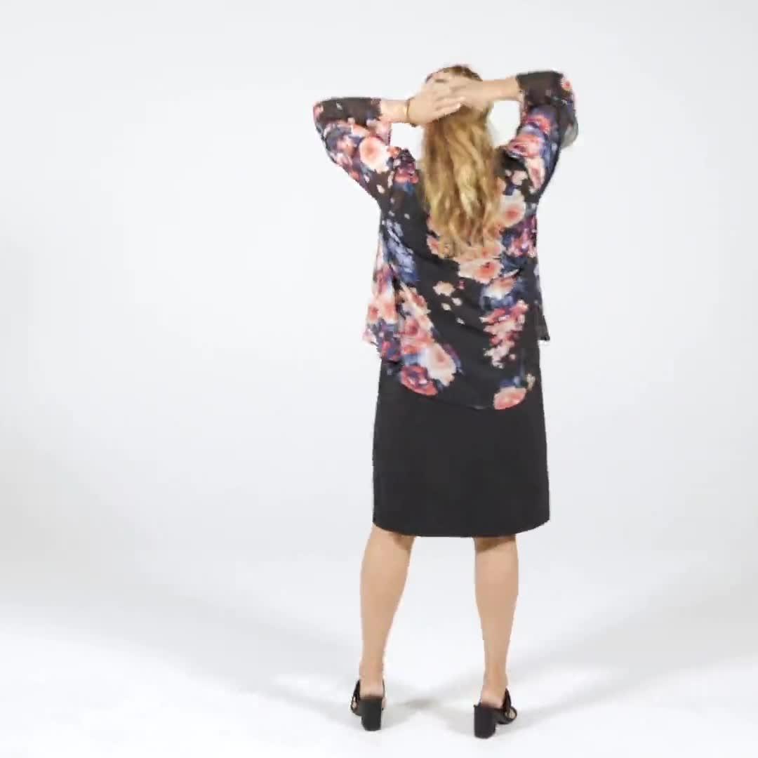 Sleeveless Floral Chiffon Jacket Dress - Video