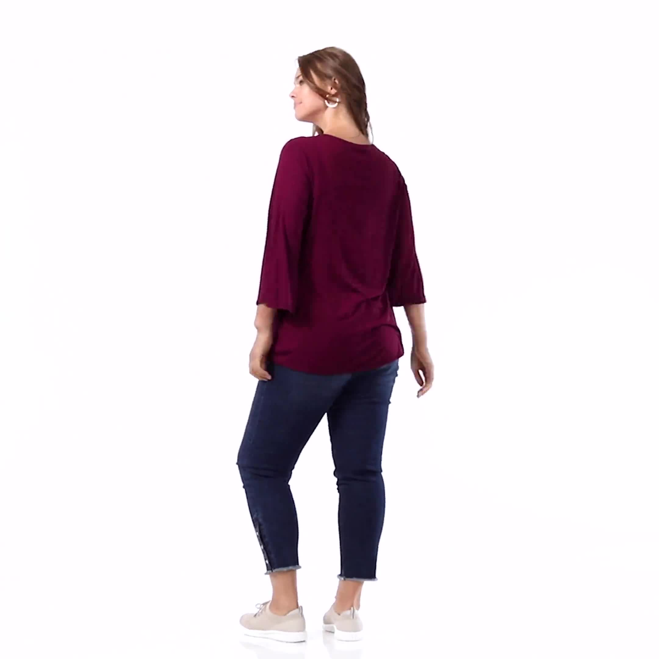 Bell Sleeve Crochet Trim V-Neck Knit Top - Plus - Video