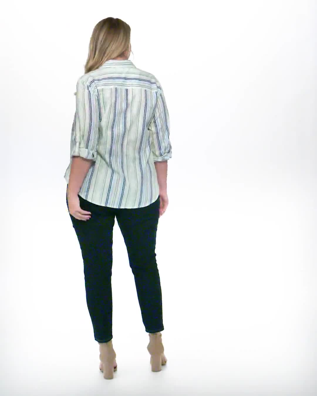 Denim Friendly Yarn Dye Stripe Shirt - Plus - Video