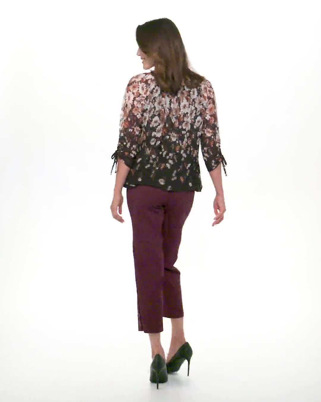 3/4 Sleeves Placed Border Bubble Hem Blouse - Video