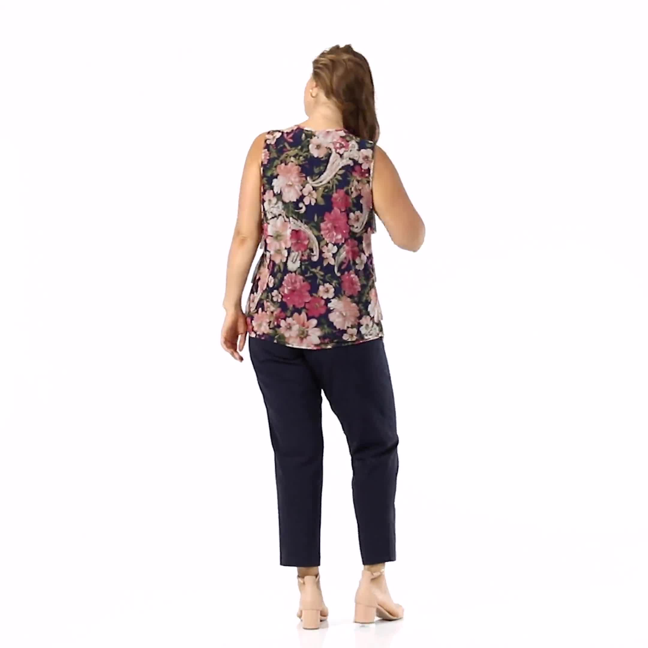 Mesh Tiered Floral Knit Top - Plus - Video