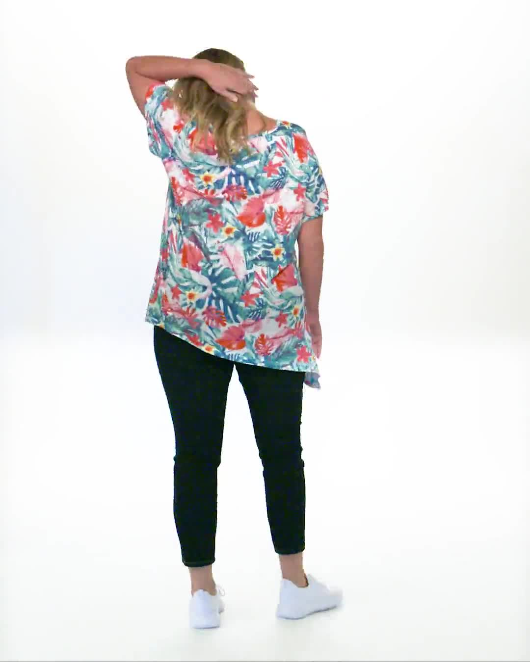 Multi Color Shark Bite Knit Top - Video