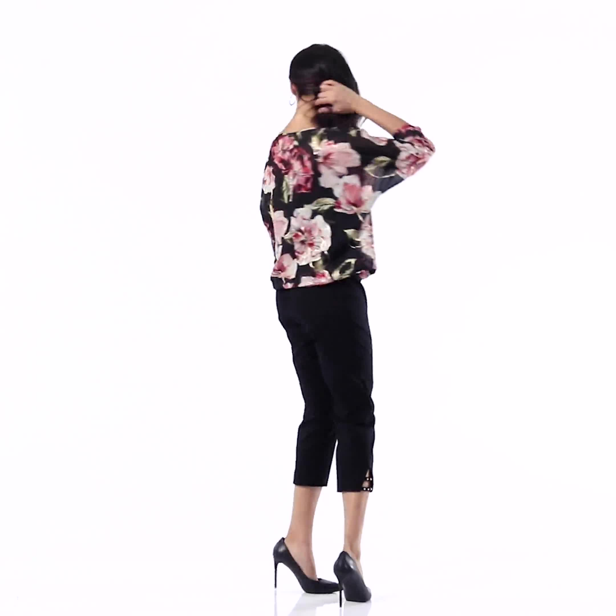 Floral Bubble Hem Blouse with Foil - Video