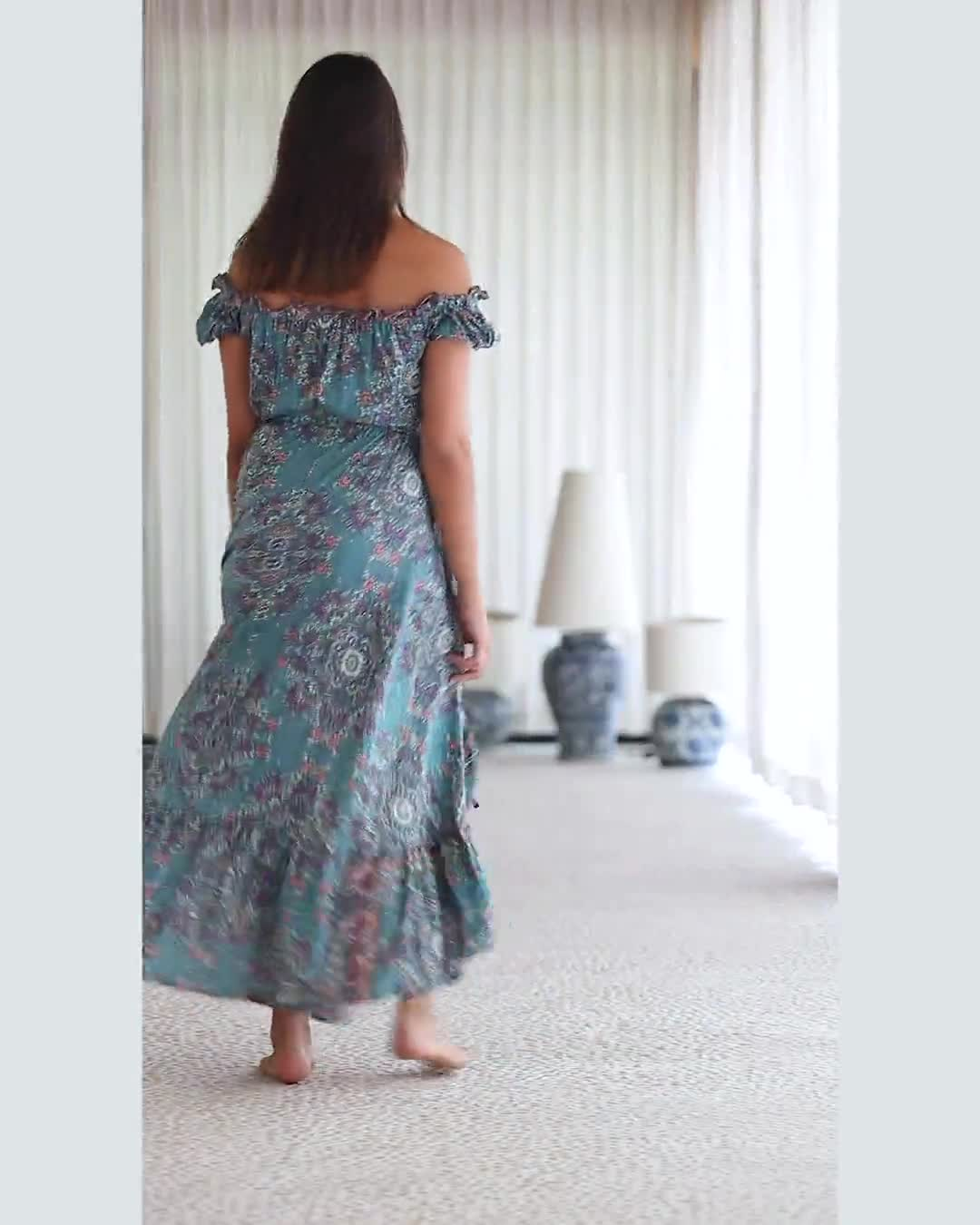 Off-Shoulder Teal Maxi Dress - Video