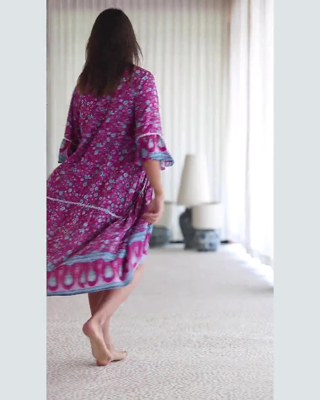 Paisley Bell Sleeve Babydoll Dress - Video