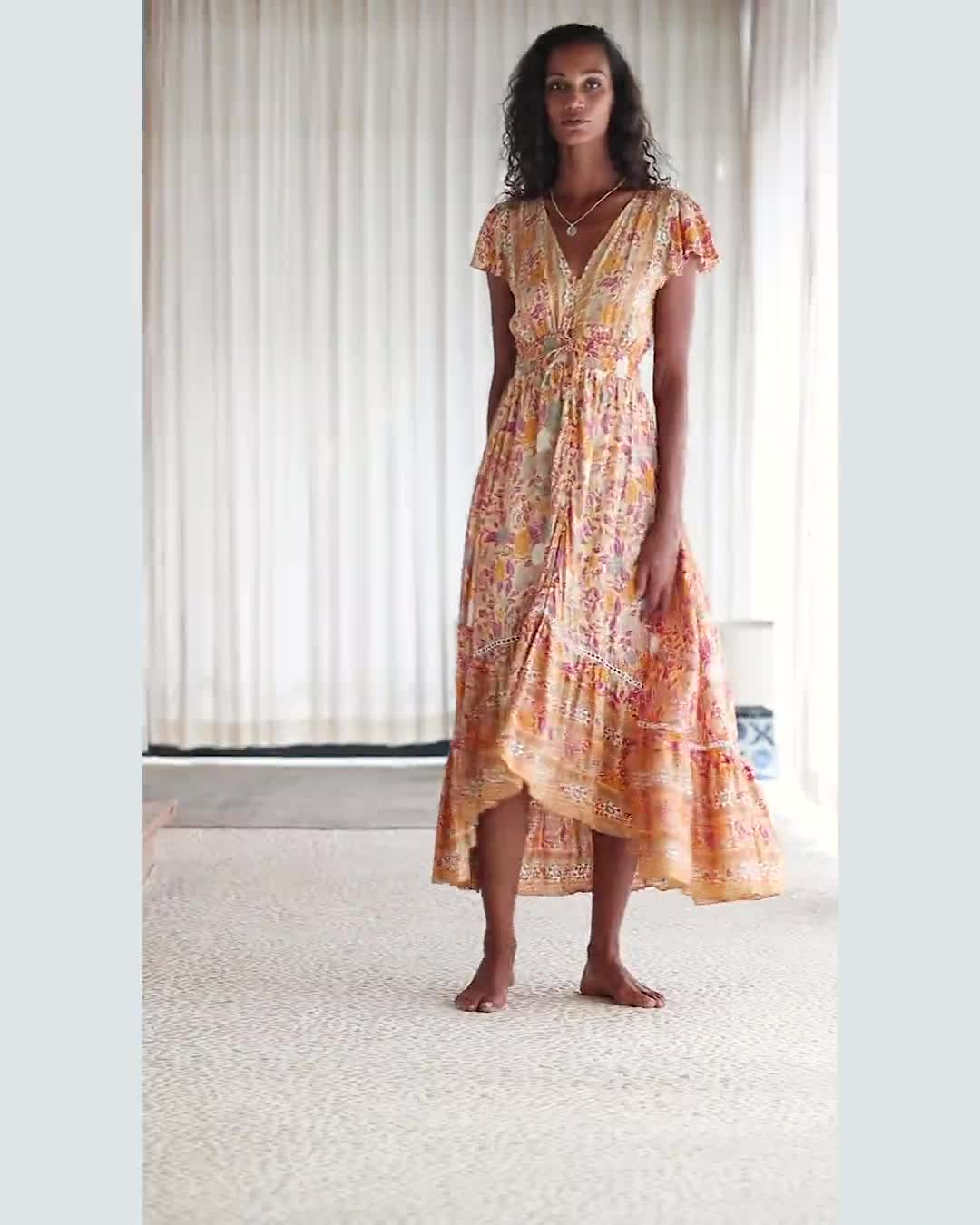 Yellow Floral Maxi Dress - Video