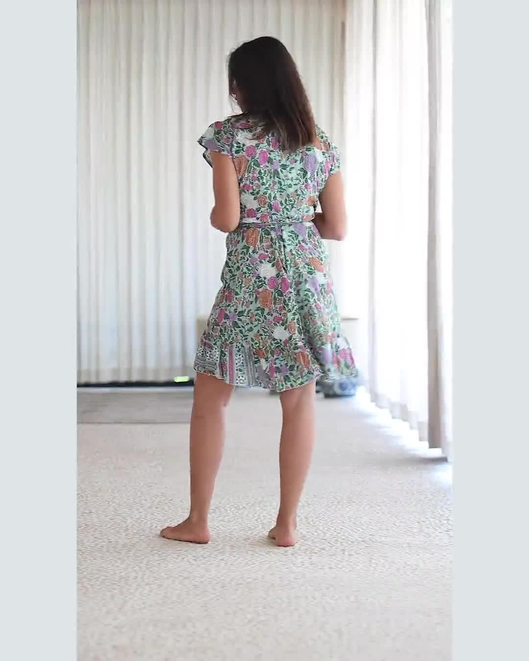 Botanical V-Neck Wrap Dress - Video