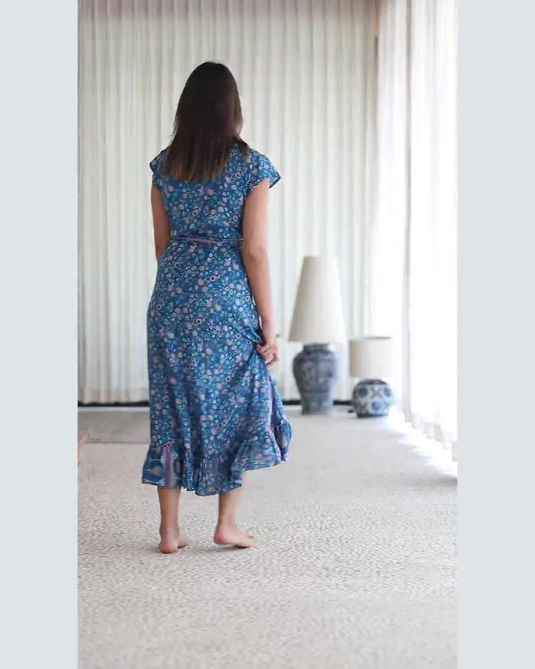 Short Sleeve Wrap Blue Maxi Dress - Video