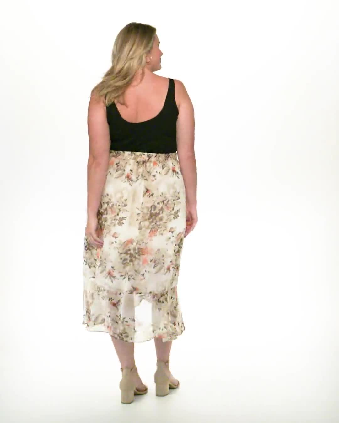 Plus Faux wrap hi low pull on skirt - Video