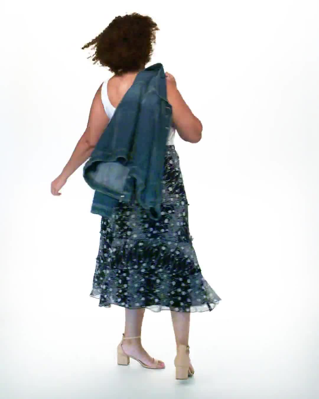 Bias Cut 4 Tiered Elastic Waist Pull On Skirt - Video