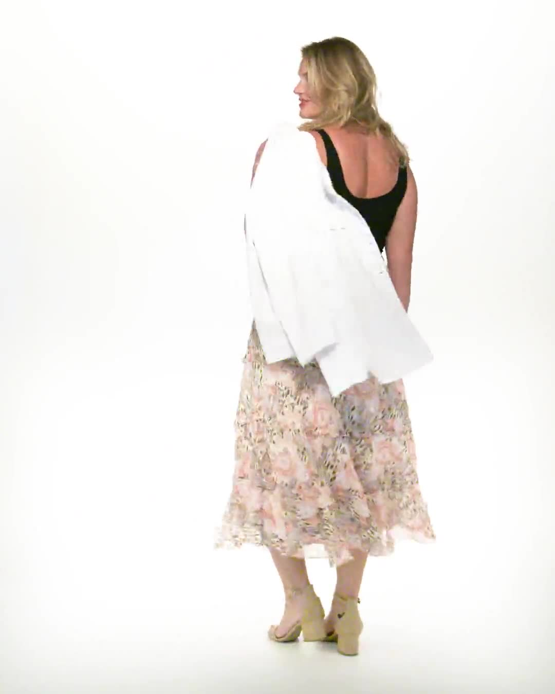 4 Tiered Elastic Waistband Skirt - Video