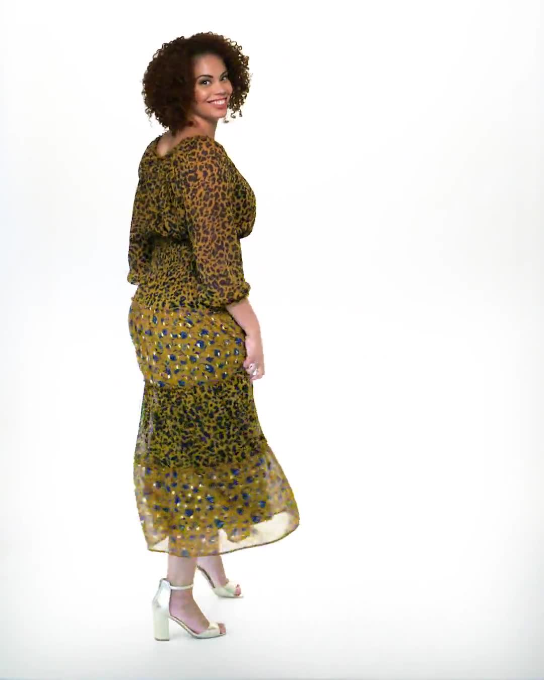 Leopard Floral Peasant Dress - Plus - Video