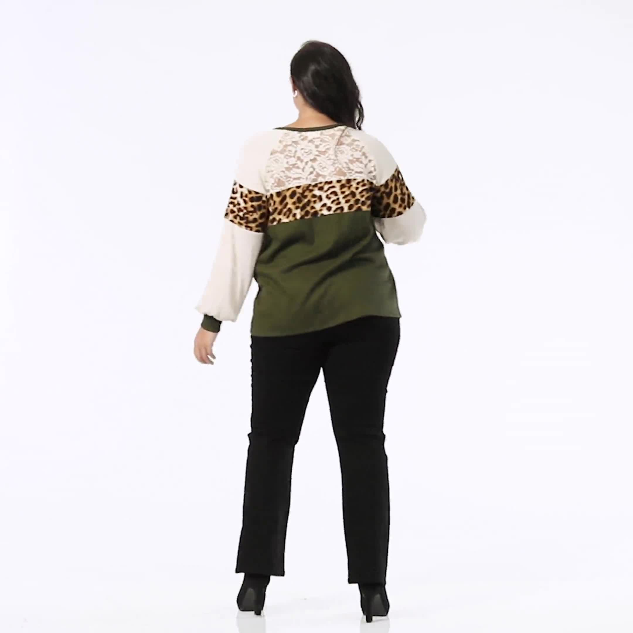 Olive Animal Mix Media Knit Top - Plus - Video