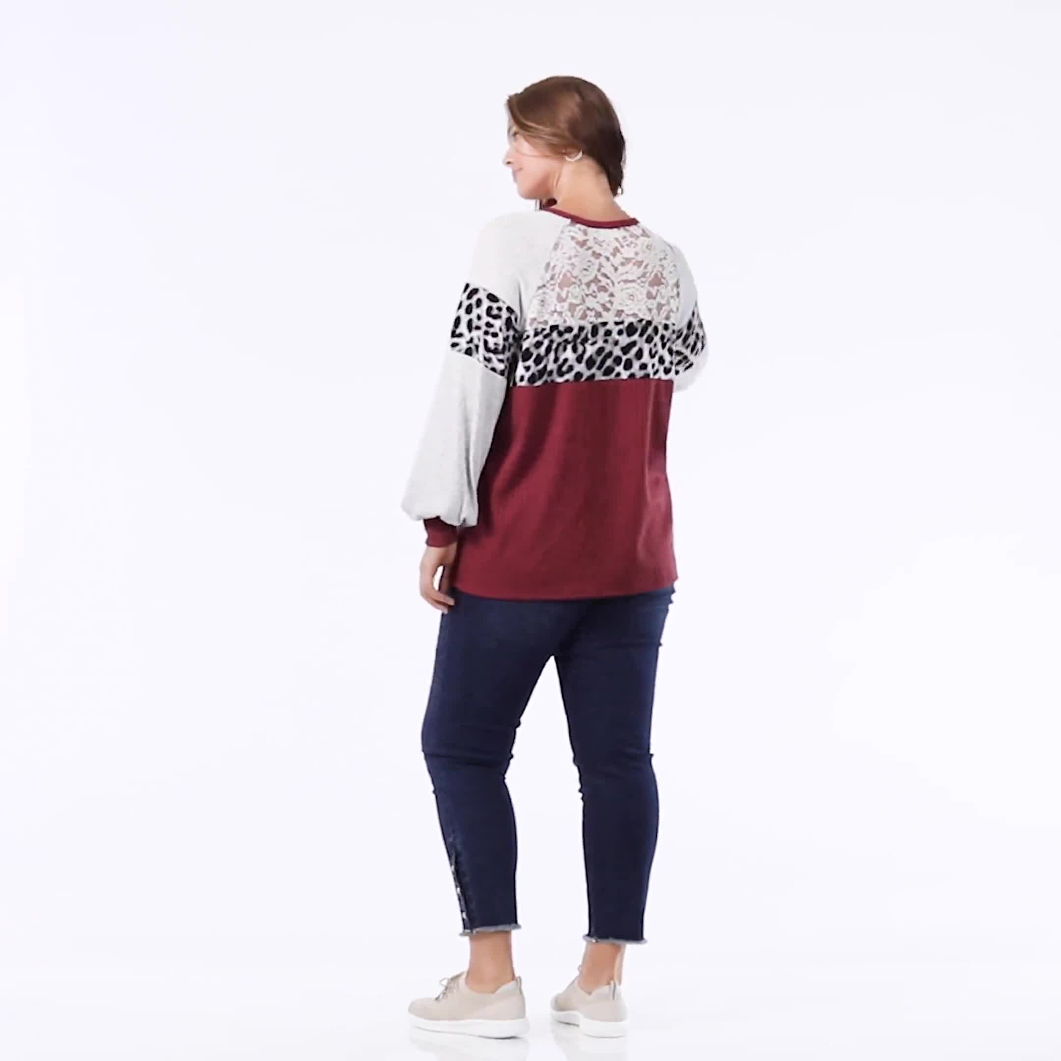 Marsala Animal Mix Media Knit Top - Plus - Video
