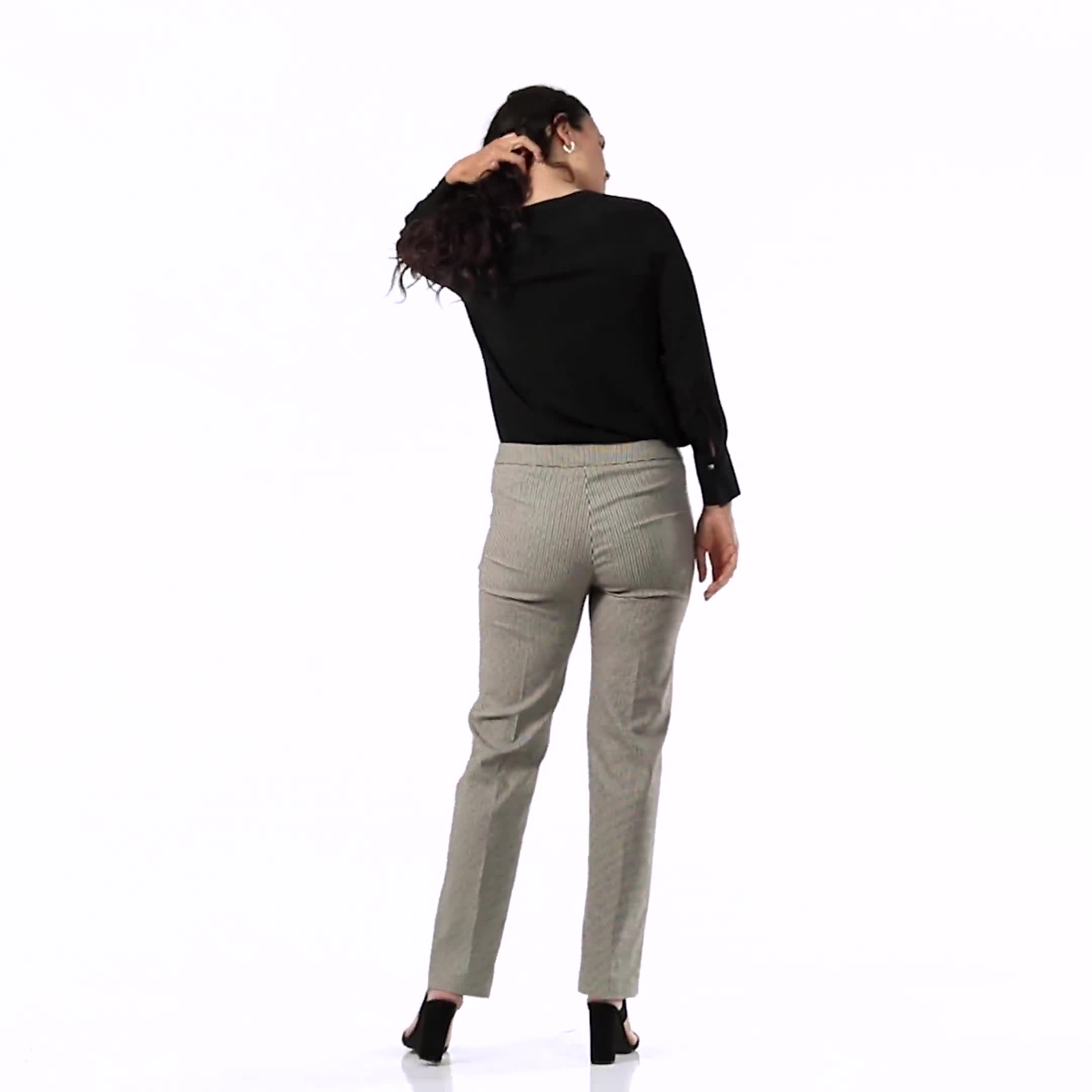 Pull On Novelty Jacquard Pant with Zipper Pockets - Video