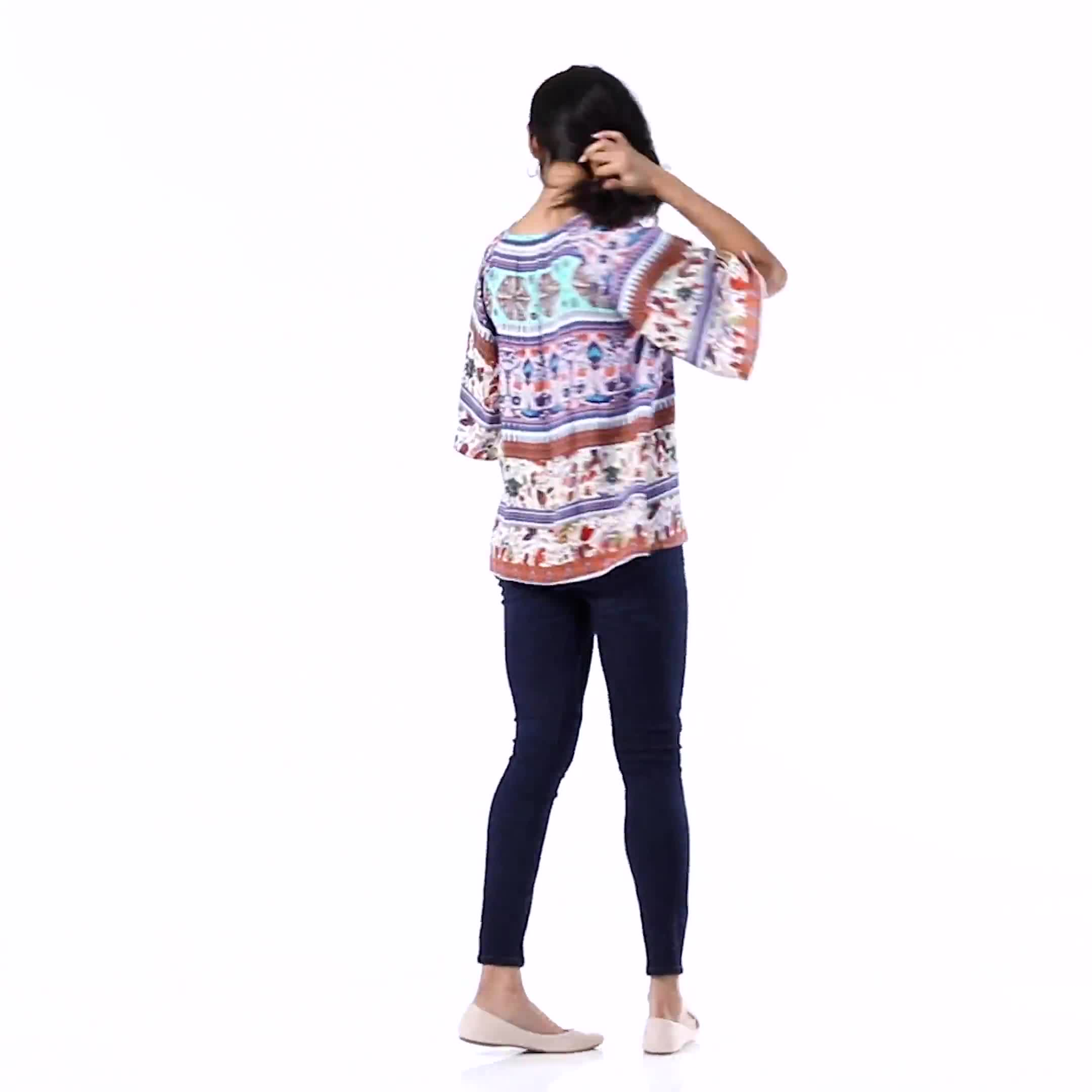 Global Tapestry Peasant Woven Top - Misses - Video