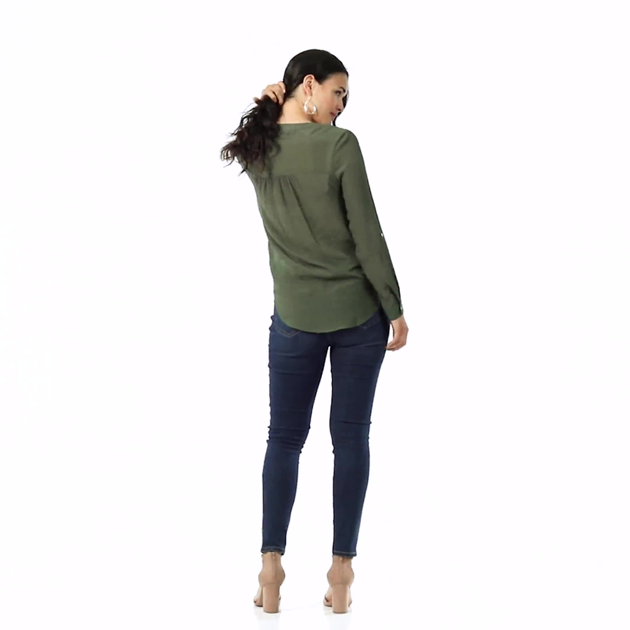 Textured Button Front Roll Tab Shirt - Misses - Video
