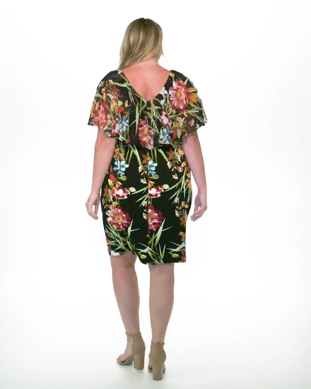 Amy Tropical Floral Dress - Plus - Video