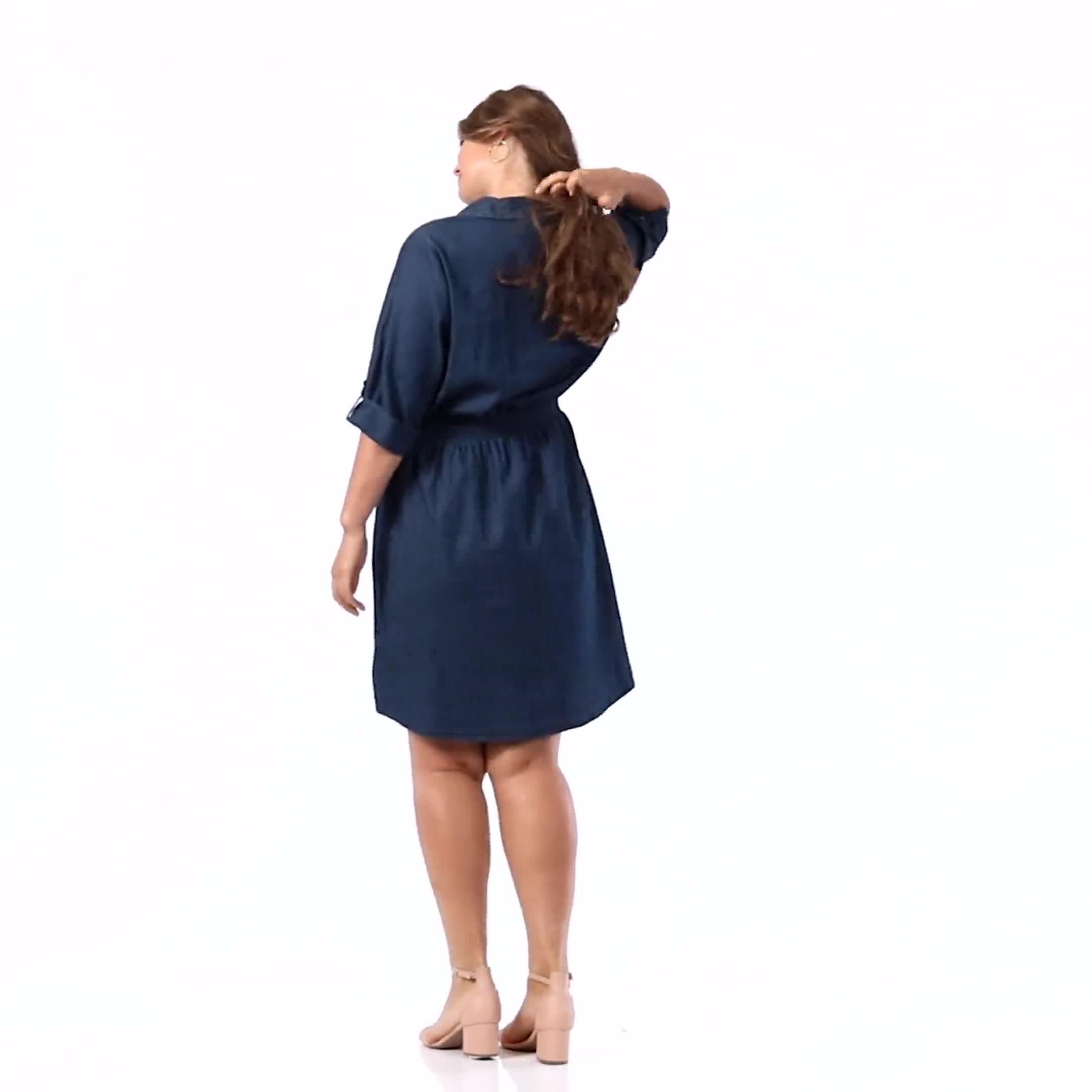 Roll Tab Denim Shirt Dress - Plus - Video