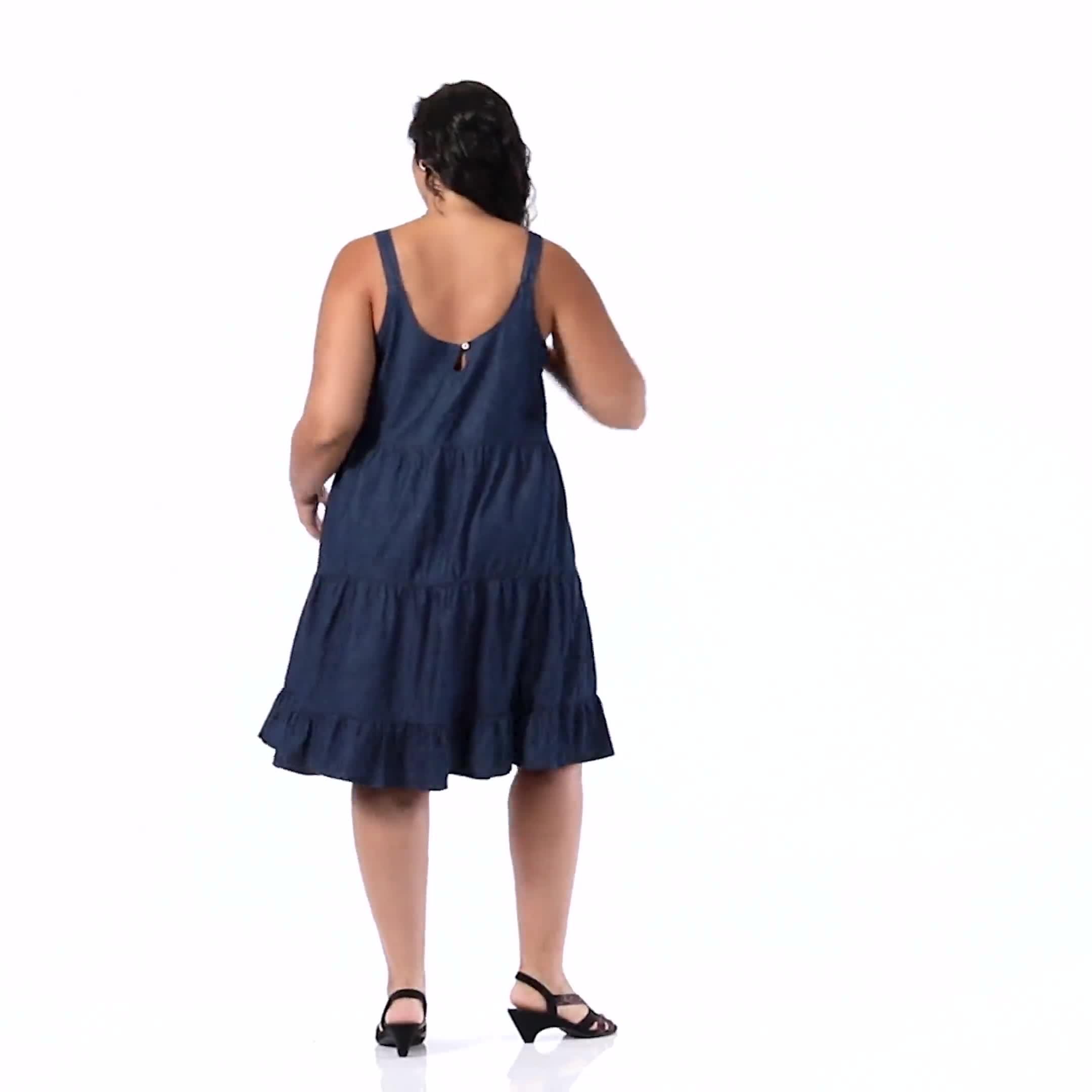 Denim  Tiered Tank Dress - Plus - Video