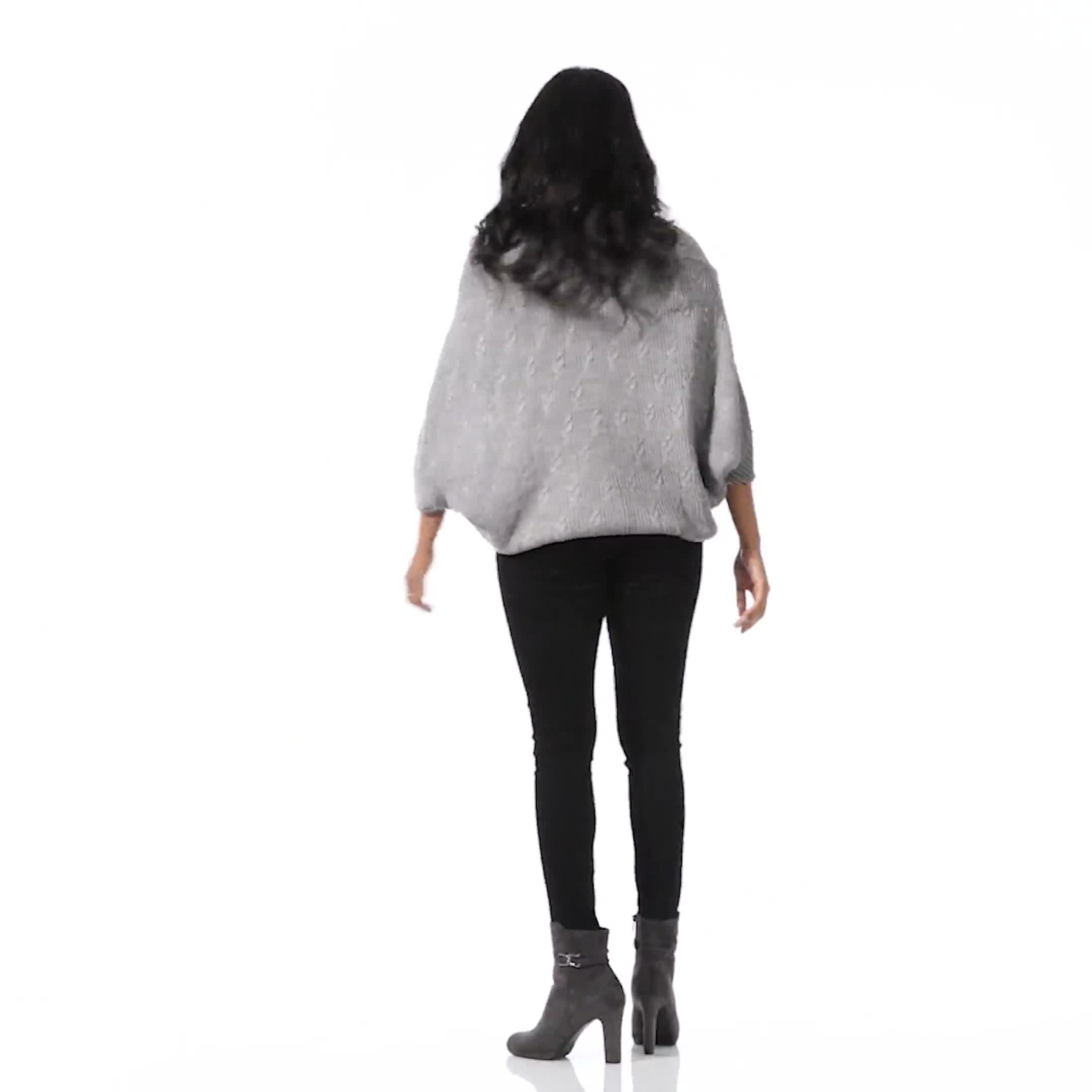 Westport Novelty Stitch Poncho Sweater - Video