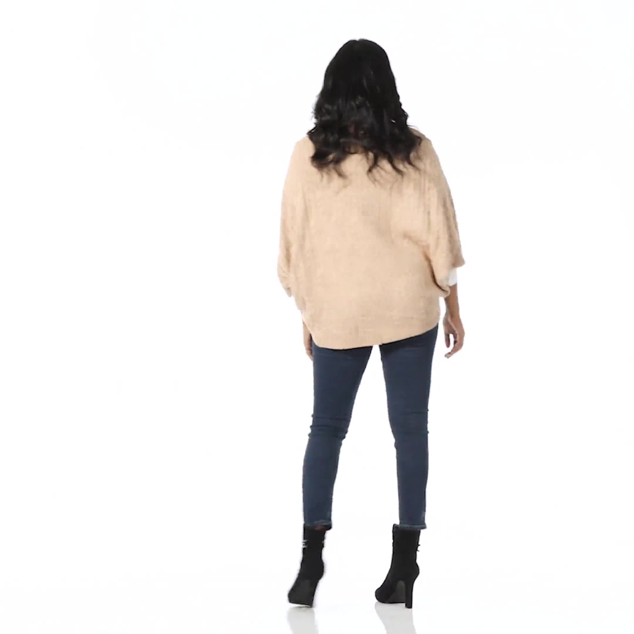 Westport Cable Poncho Sweater - Misses - Video