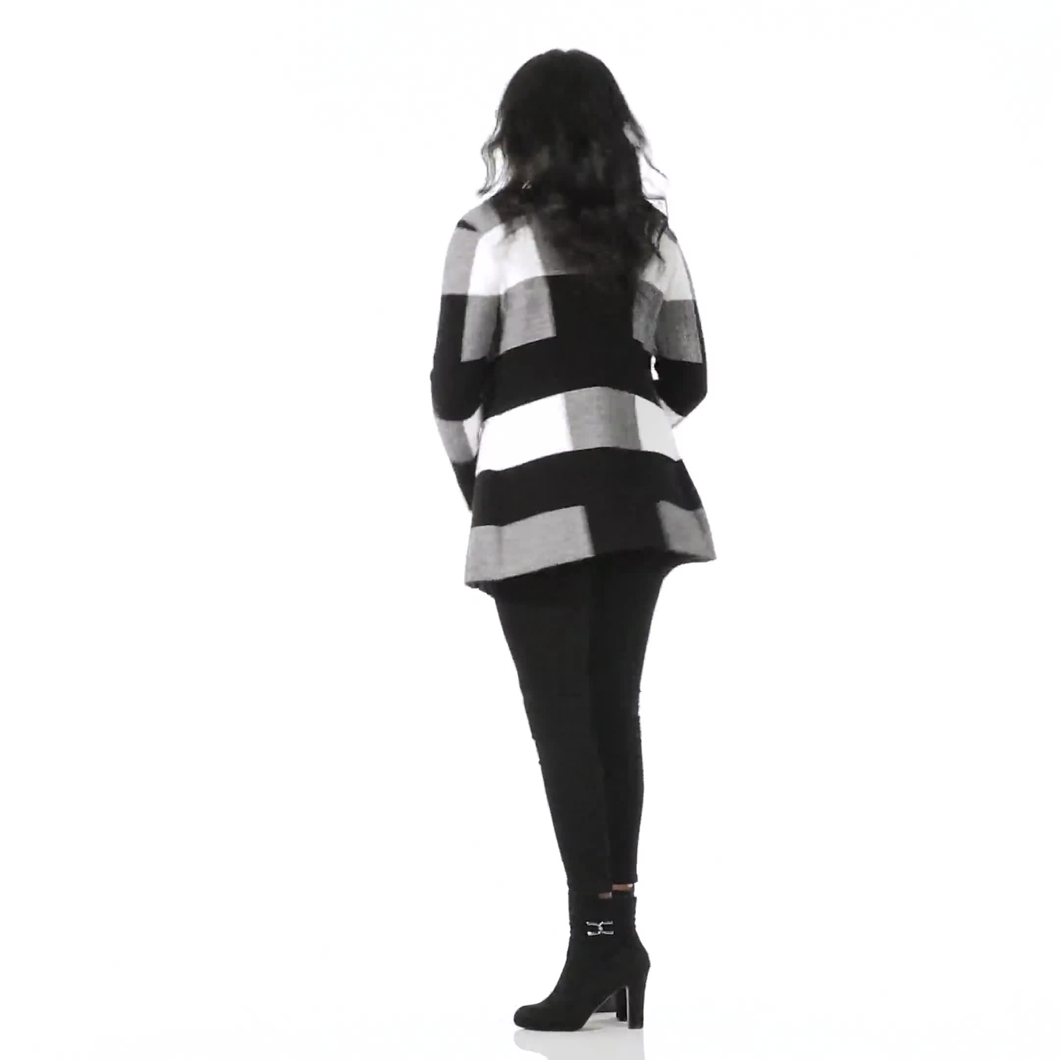 Roz & Ali Plaid Jacquard Sweater Cardigan - Video