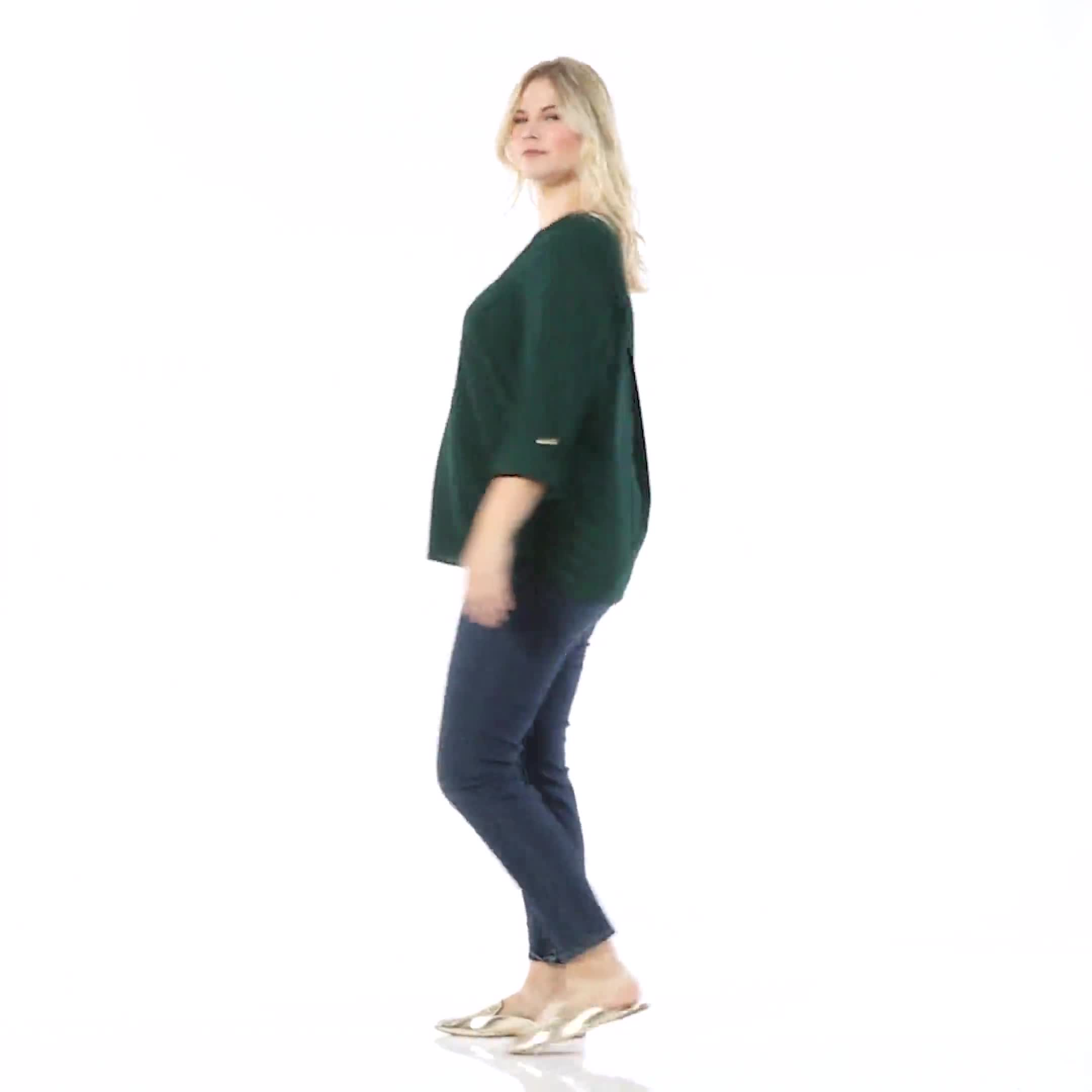 Roz & Ali Side Tie Popover Blouse -  Plus - Video