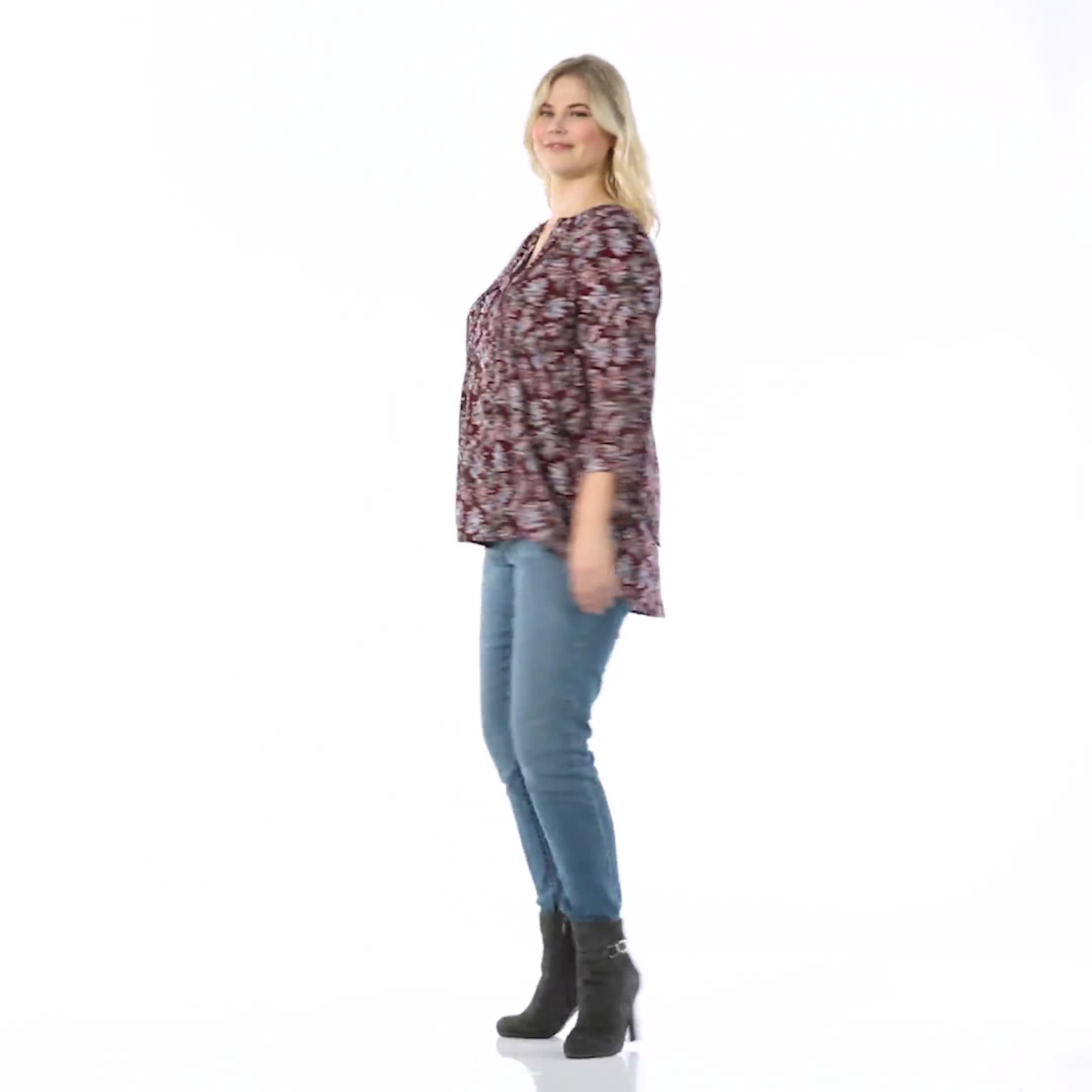 Westport Multi Color Floral Pintuck Popover  - Plus - Video