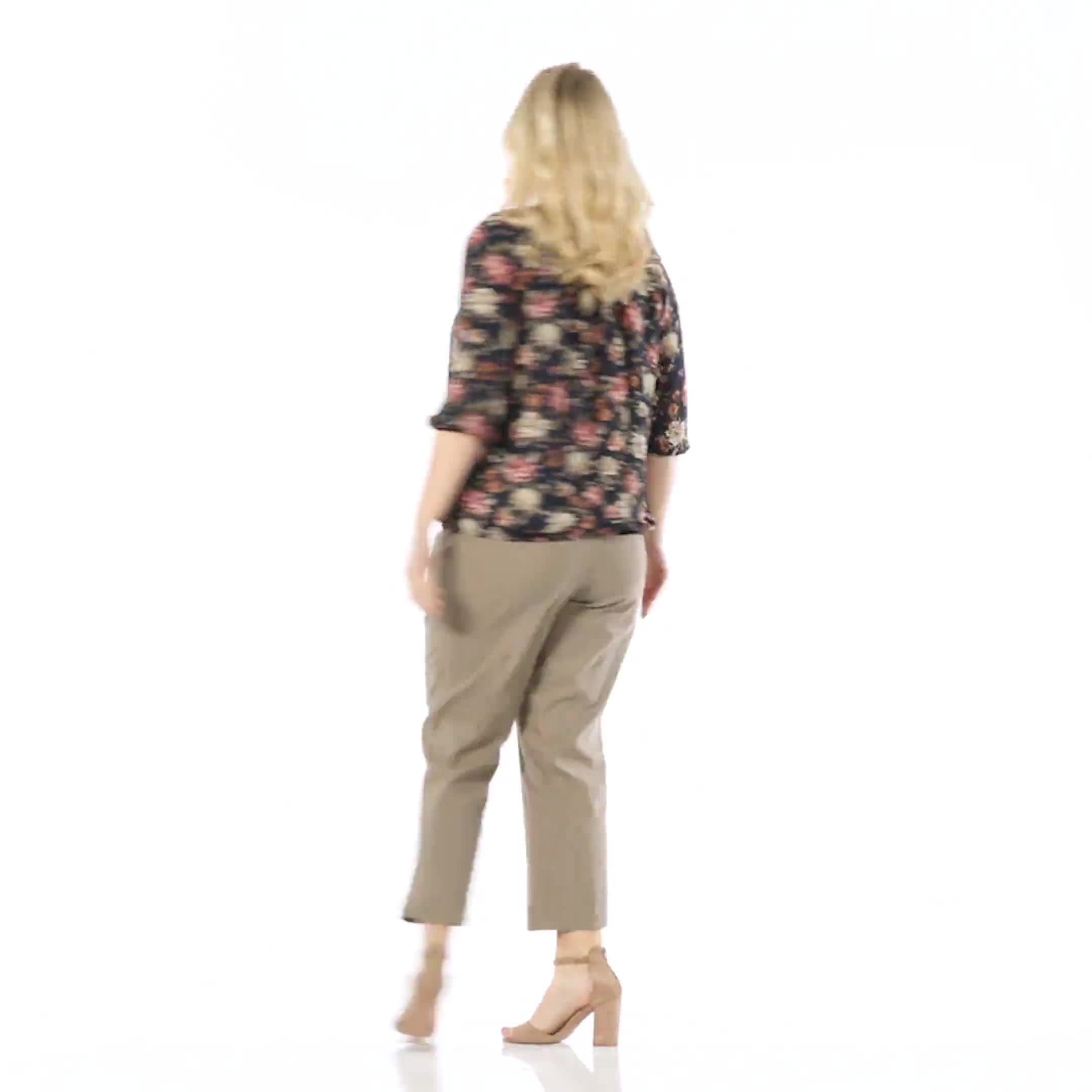 Roz & Ali  Navy Floral Bubble Hem Blouse - Plus - Video