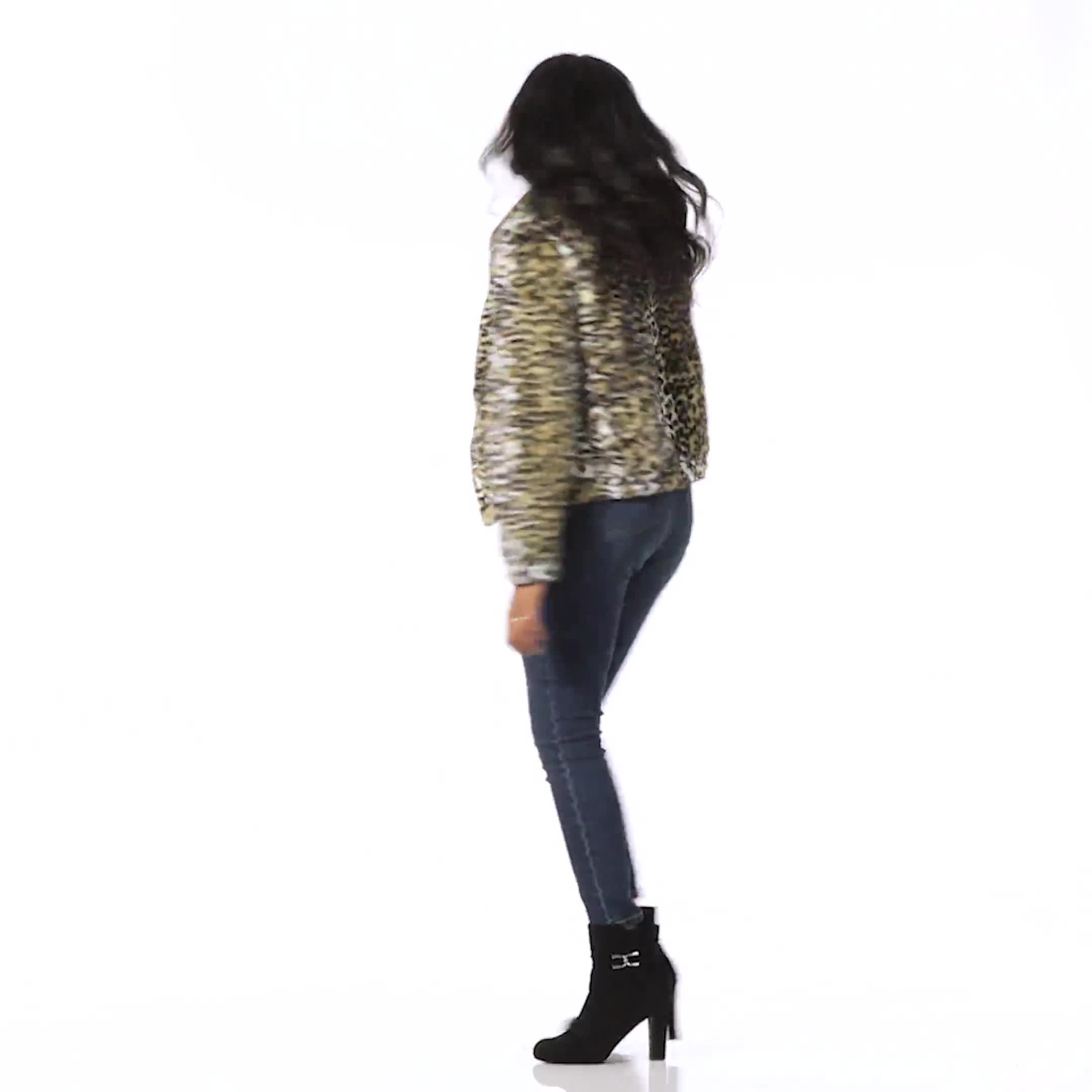 Faux Fur Zip Up Bomber Jacket - Video