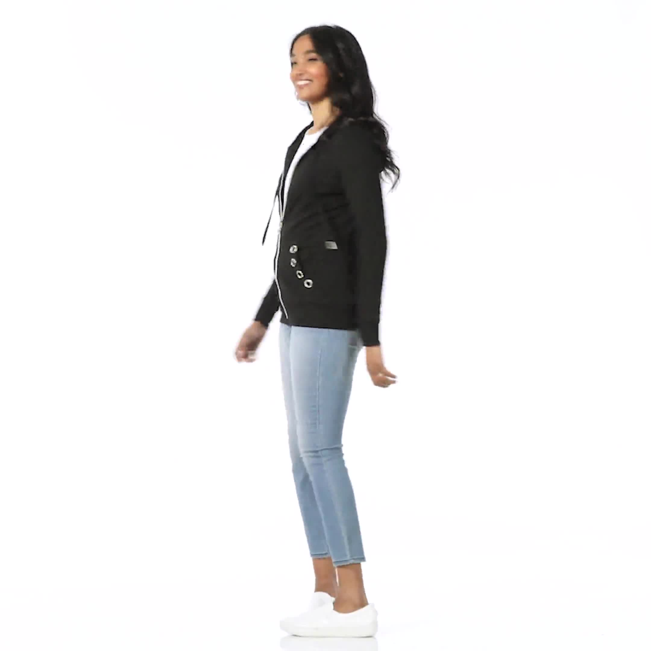 DB Sunday Grommet Zip Front Knit Cardigan - Video