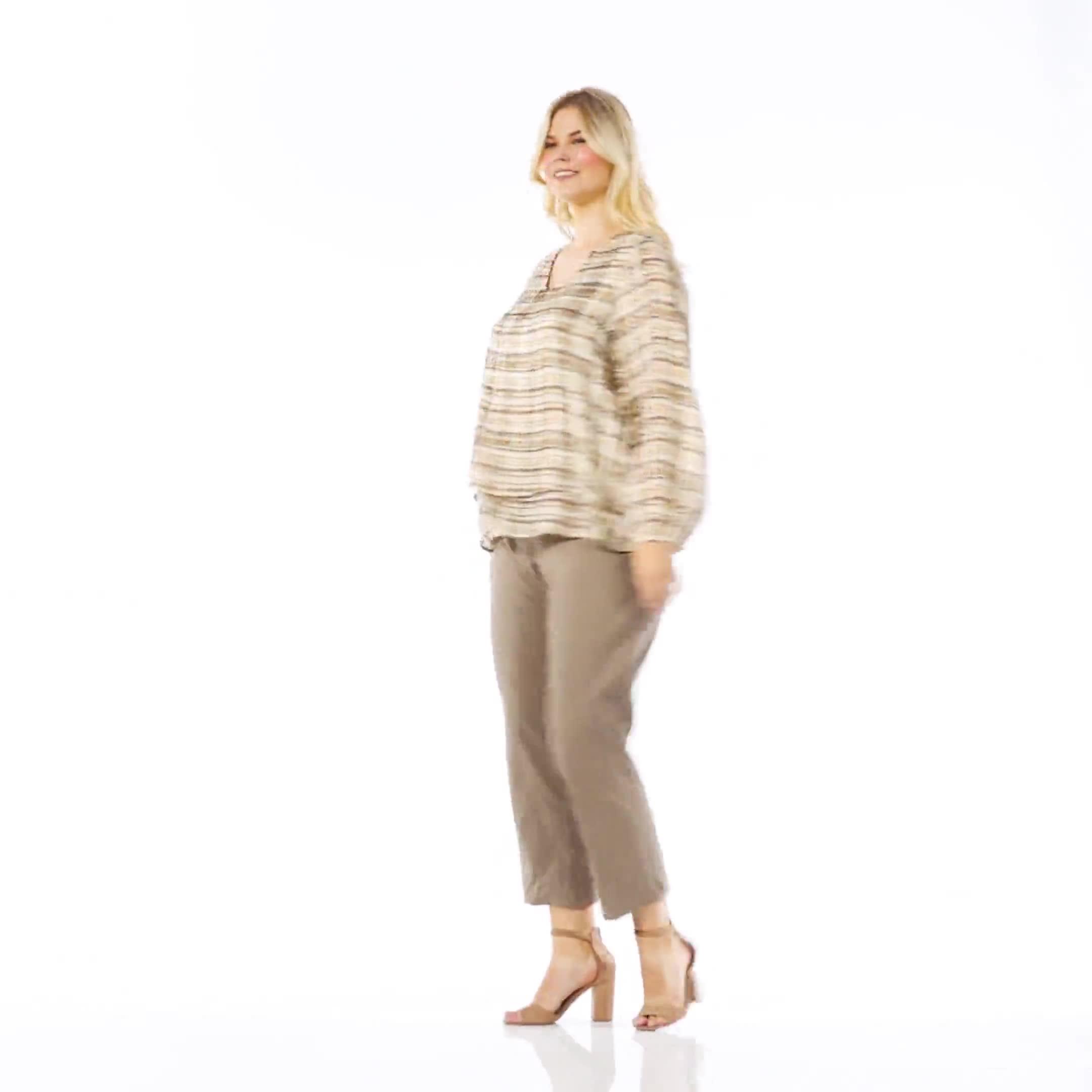 Plaid V  Neck Crepe Double Layer Blouse - Plus - Video