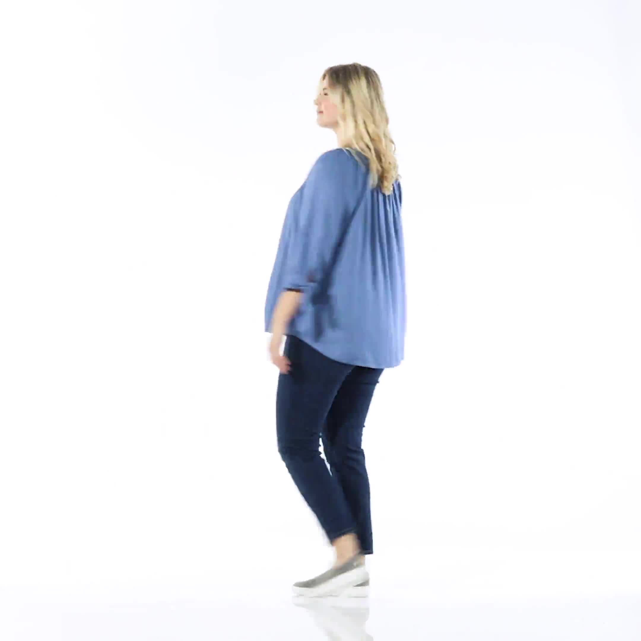 Westport Tie Sleeve Button Front Blouse - Plus - Video